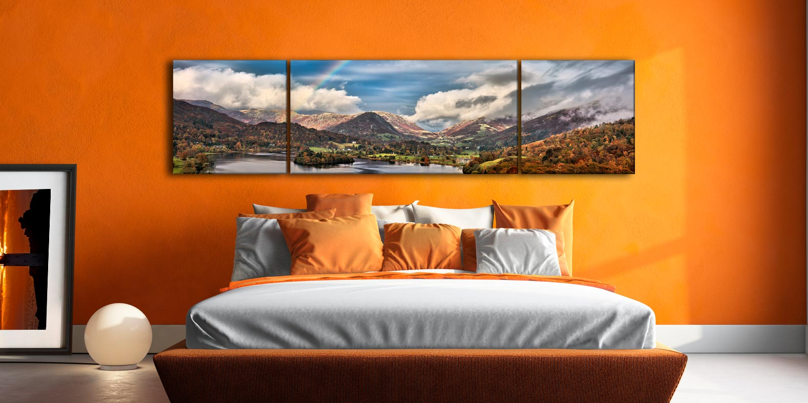 Grasmere Rainbow - 3 Panel Wide Centre Canvas on Wall