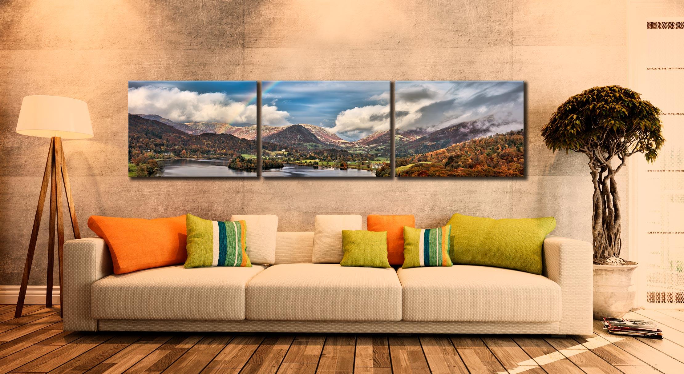 Grasmere Rainbow - 3 Panel Canvas on Wall