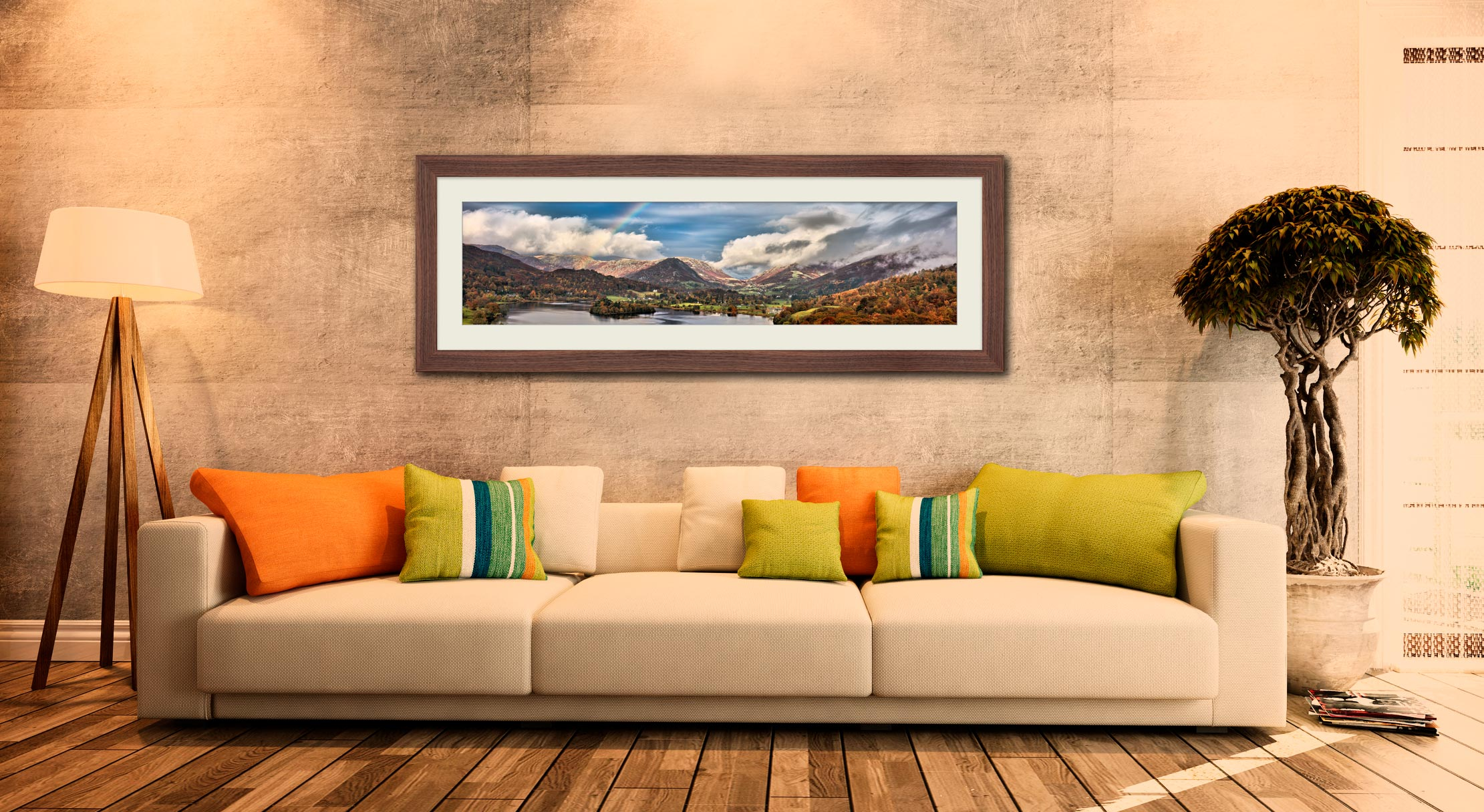 Grasmere Rainbow - Framed Print with Mount on Wall