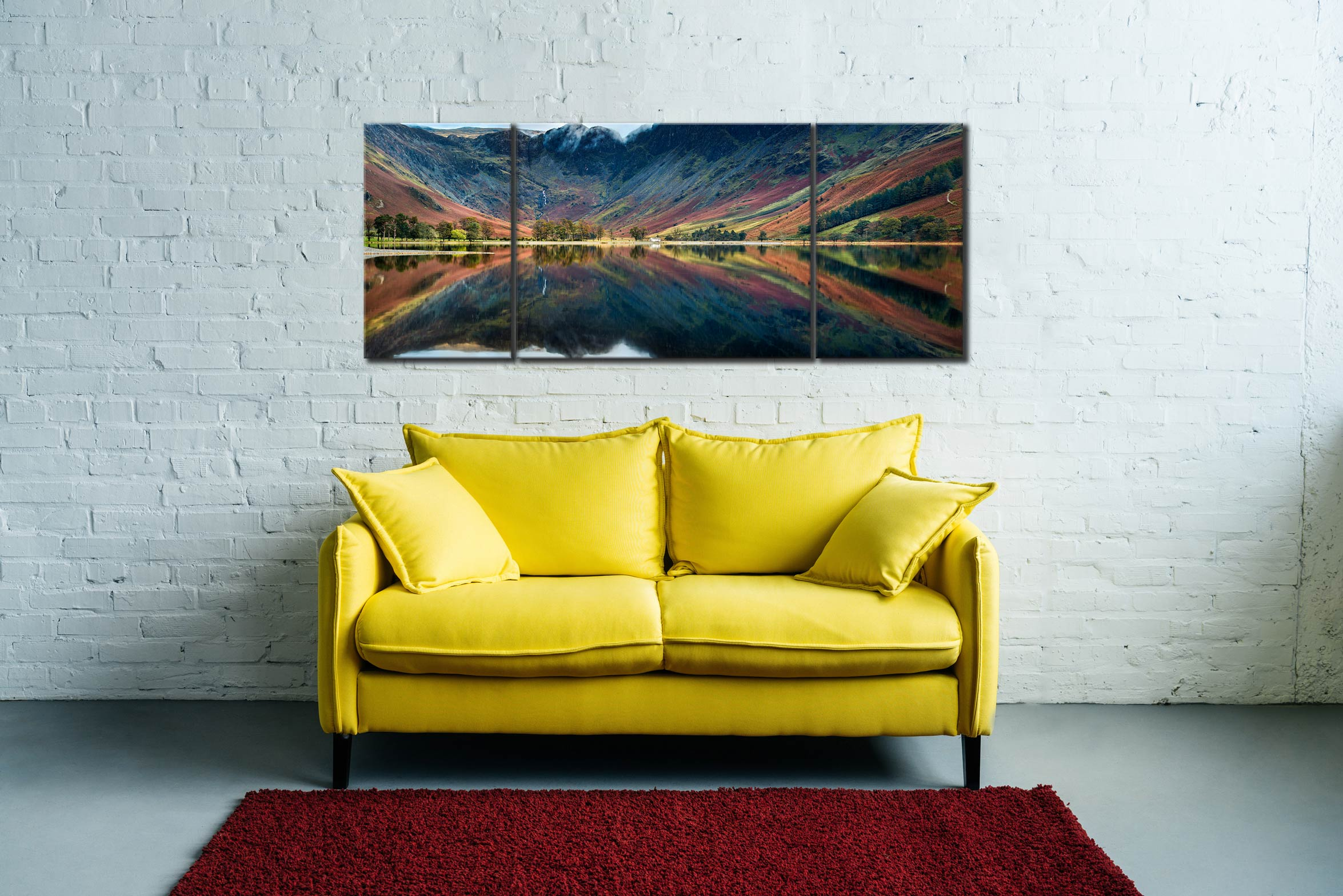 Buttermere Reflections - 3 Panel Wide Mid Canvas on Wall
