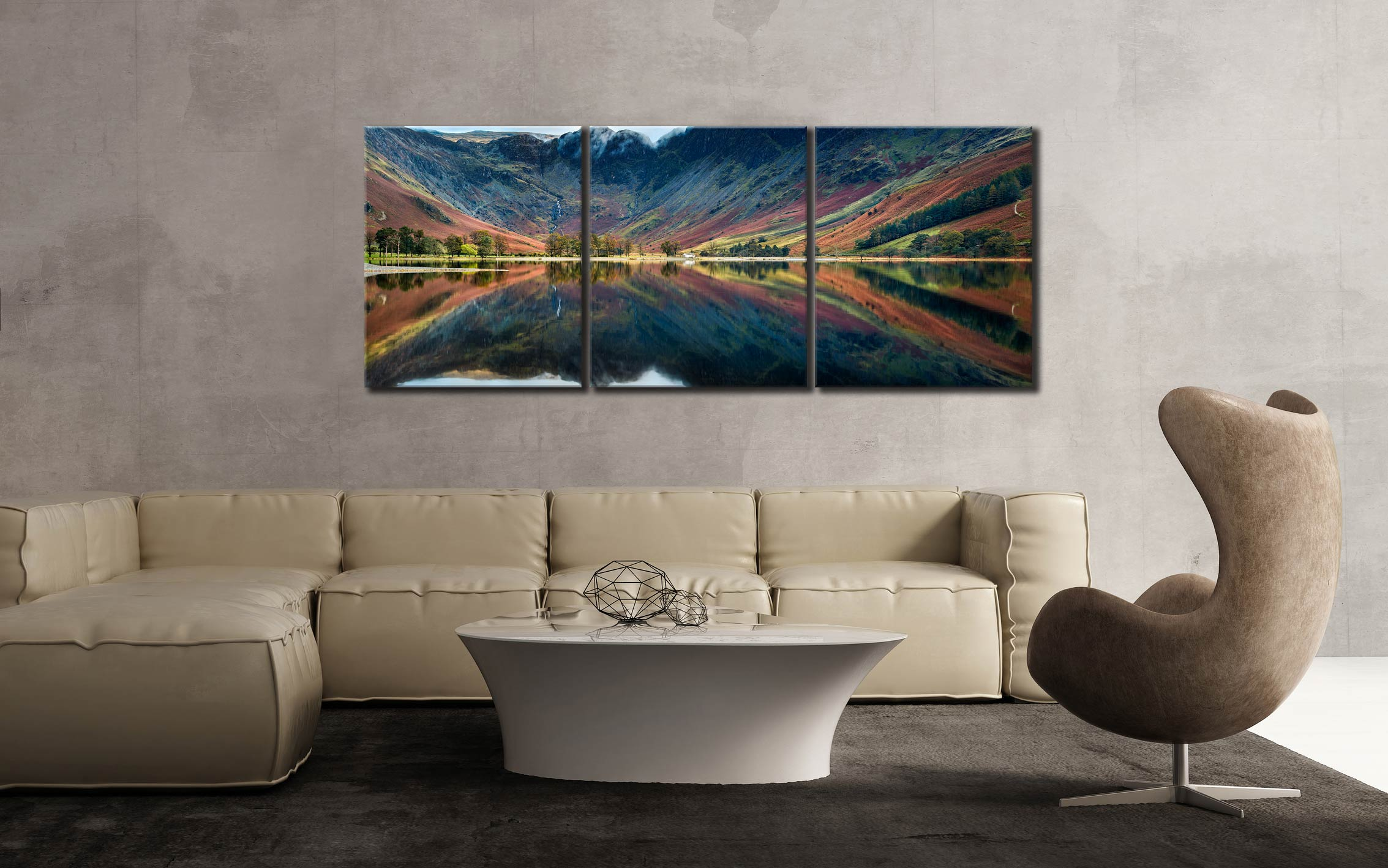 Buttermere Reflections - 3 Panel Canvas on Wall