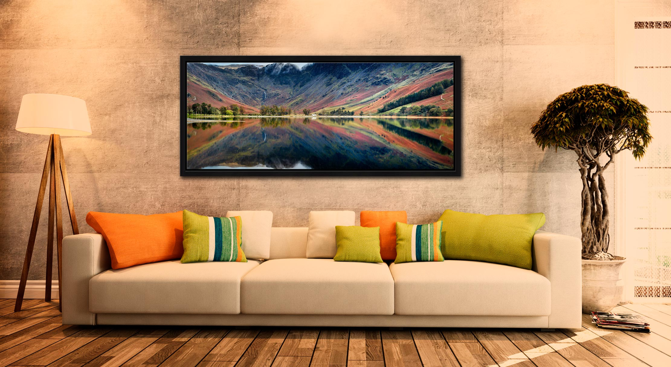 Early autumn colours reflecting in the tranquil waters of Buttermere - Black oak floater frame with acrylic glazing on Wall