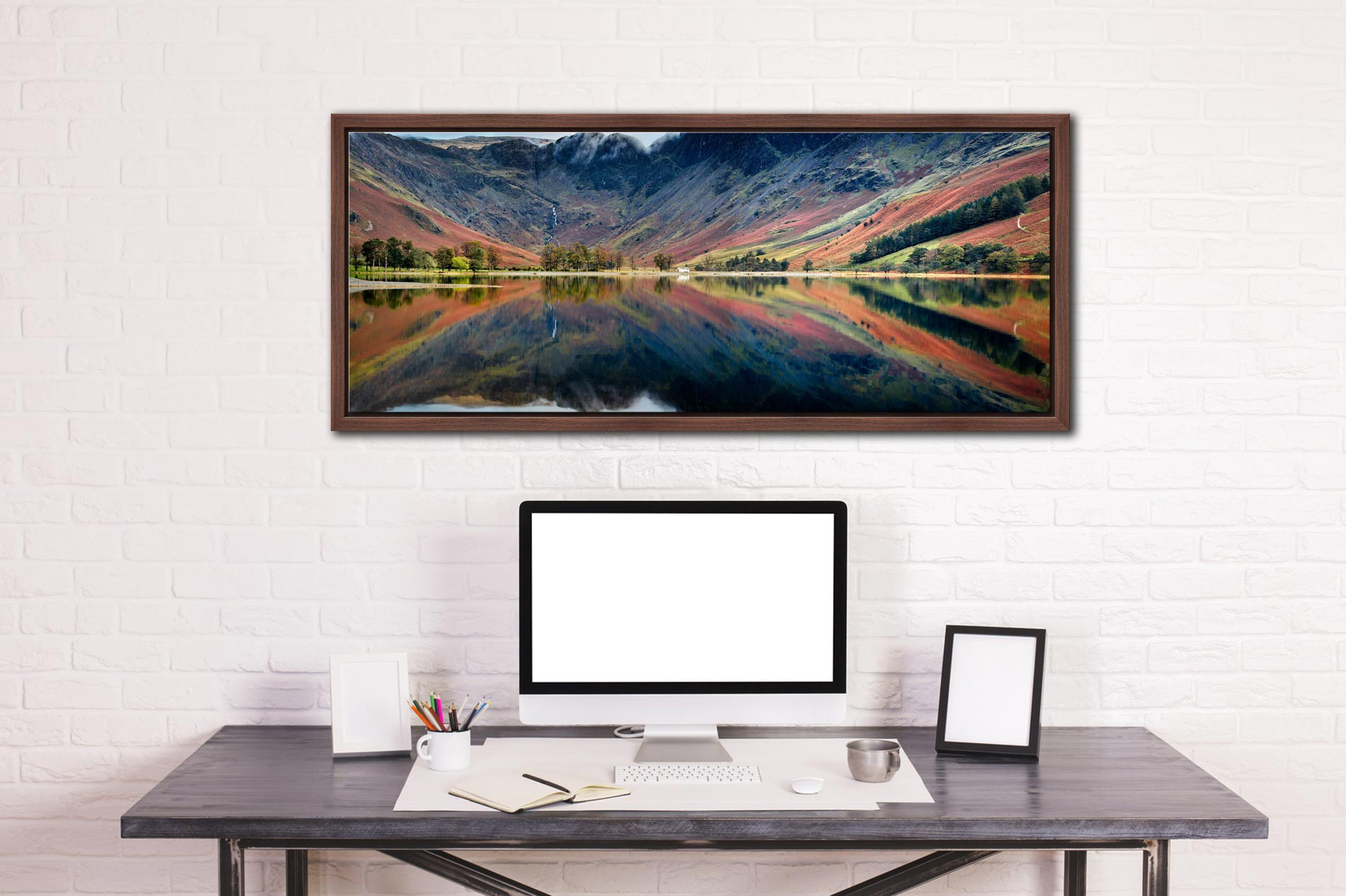 Early autumn colours reflecting in the tranquil waters of Buttermere - Walnut floater frame with acrylic glazing on Wall