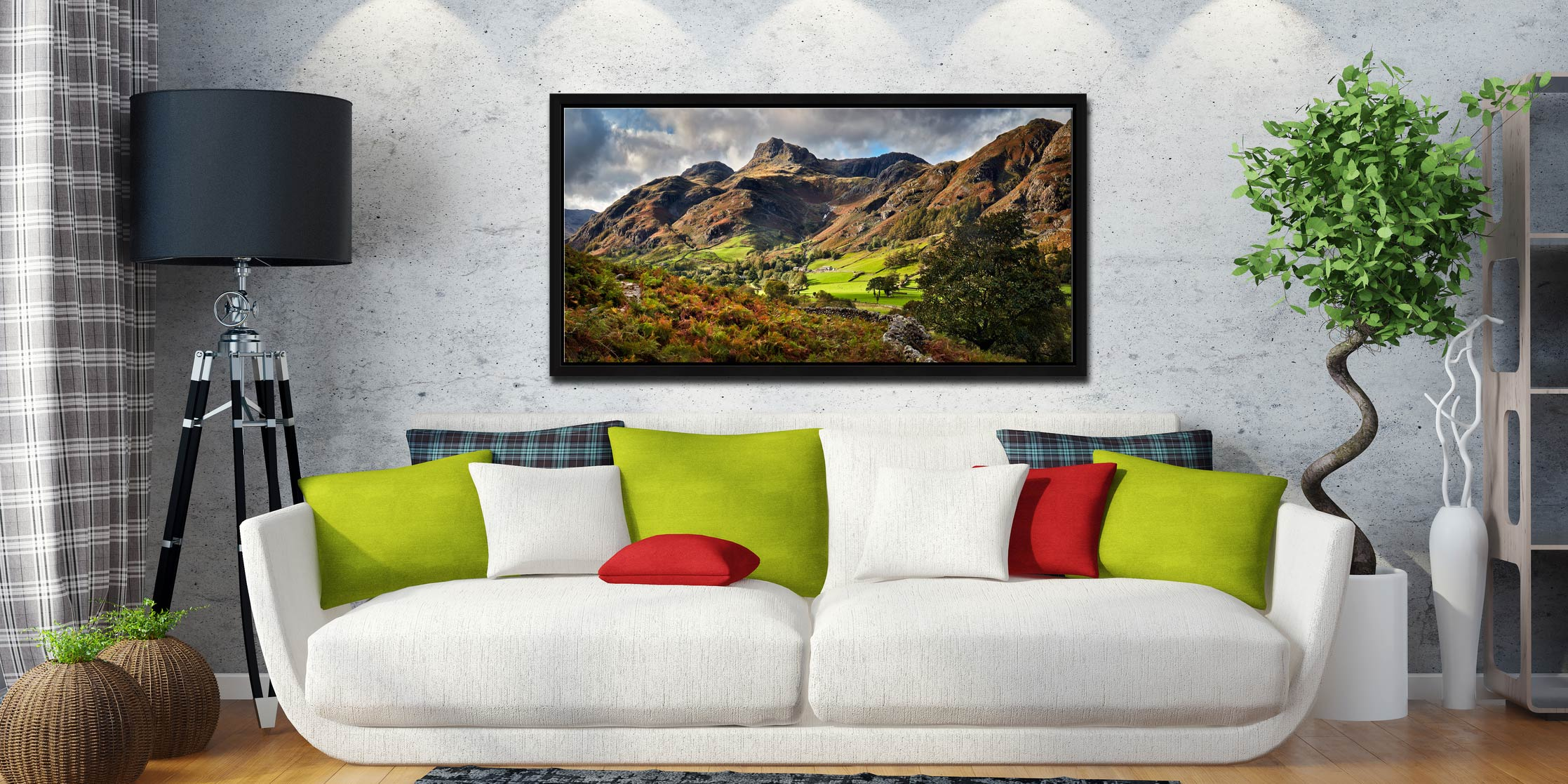 Cumbrian Way Langdale - Black oak floater frame with acrylic glazing on Wall