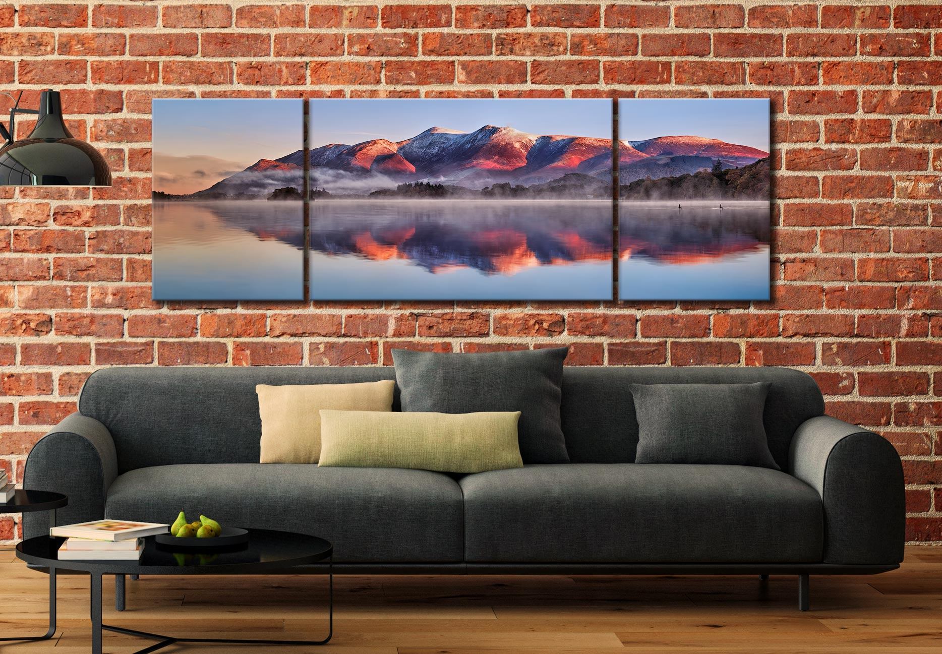Skiddaw Reflection - 3 Panel Wide Mid Canvas on Wall