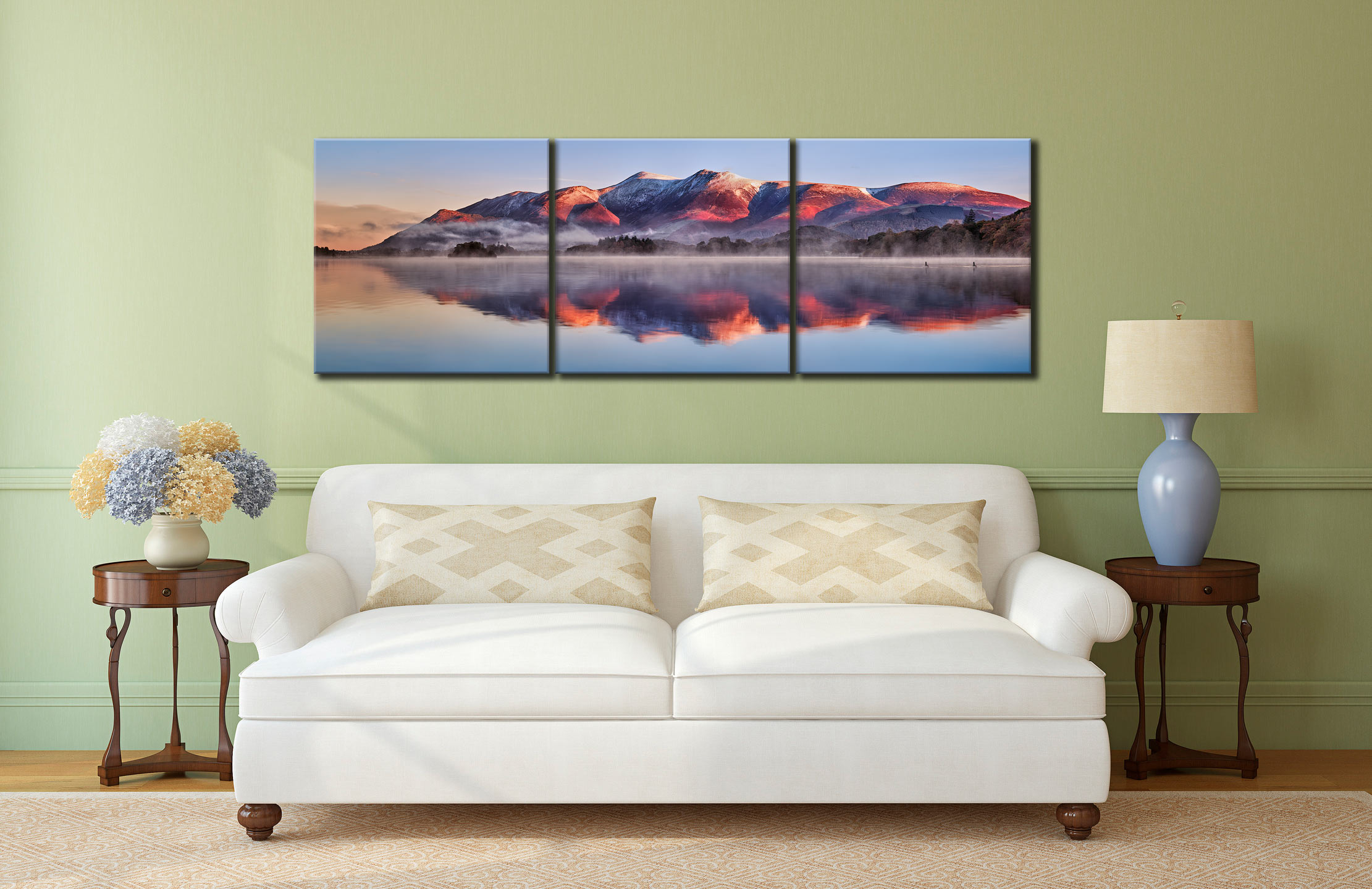 Skiddaw Reflection - 3 Panel Canvas on Wall