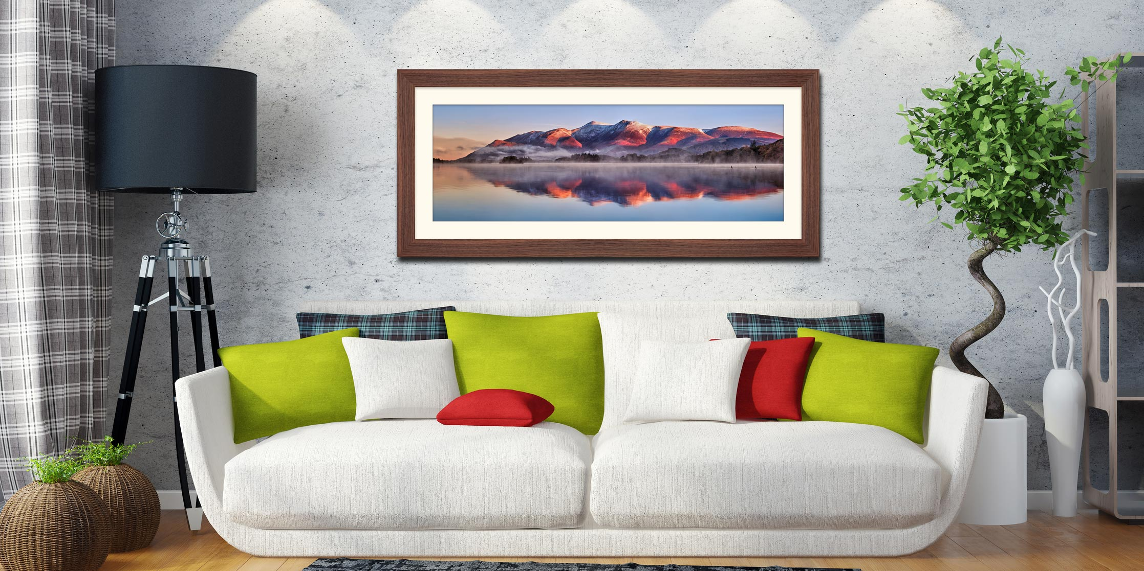 Skiddaw Reflection - Framed Print with Mount on Wall