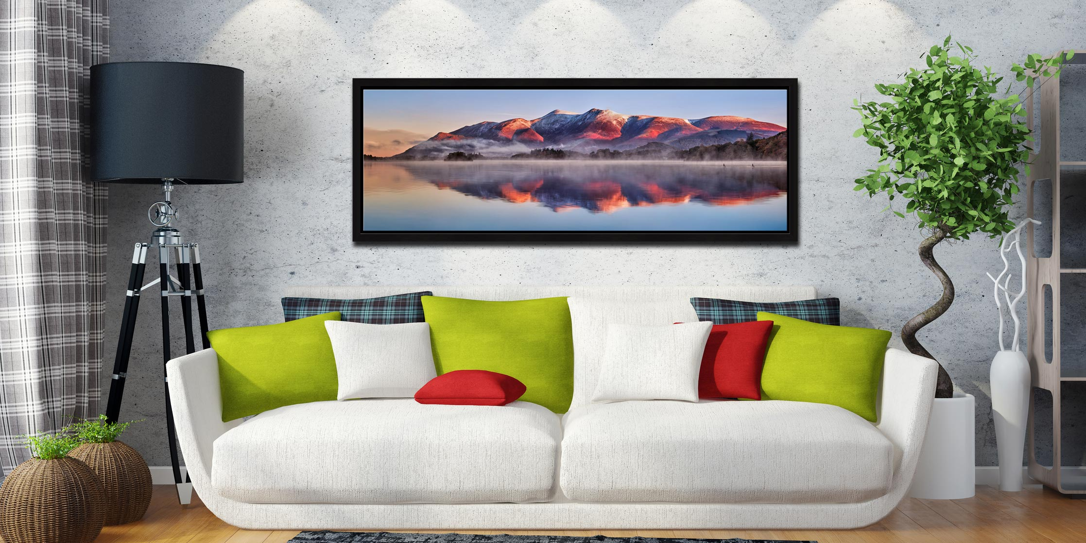 Snow topped Skiddaw reflecting in a calm Derwent Water - Black oak floater frame with acrylic glazing on Wall