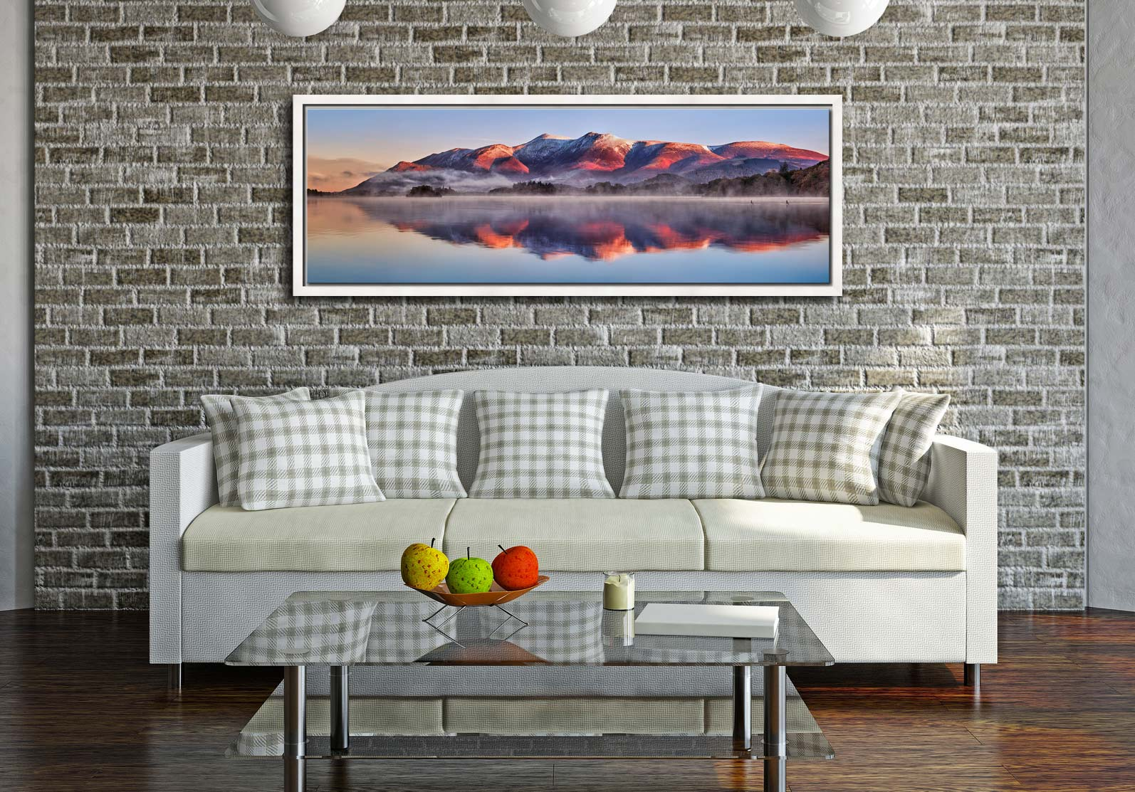 Snow topped Skiddaw reflecting in a calm Derwent Water - White Maple floater frame with acrylic glazing on Wall
