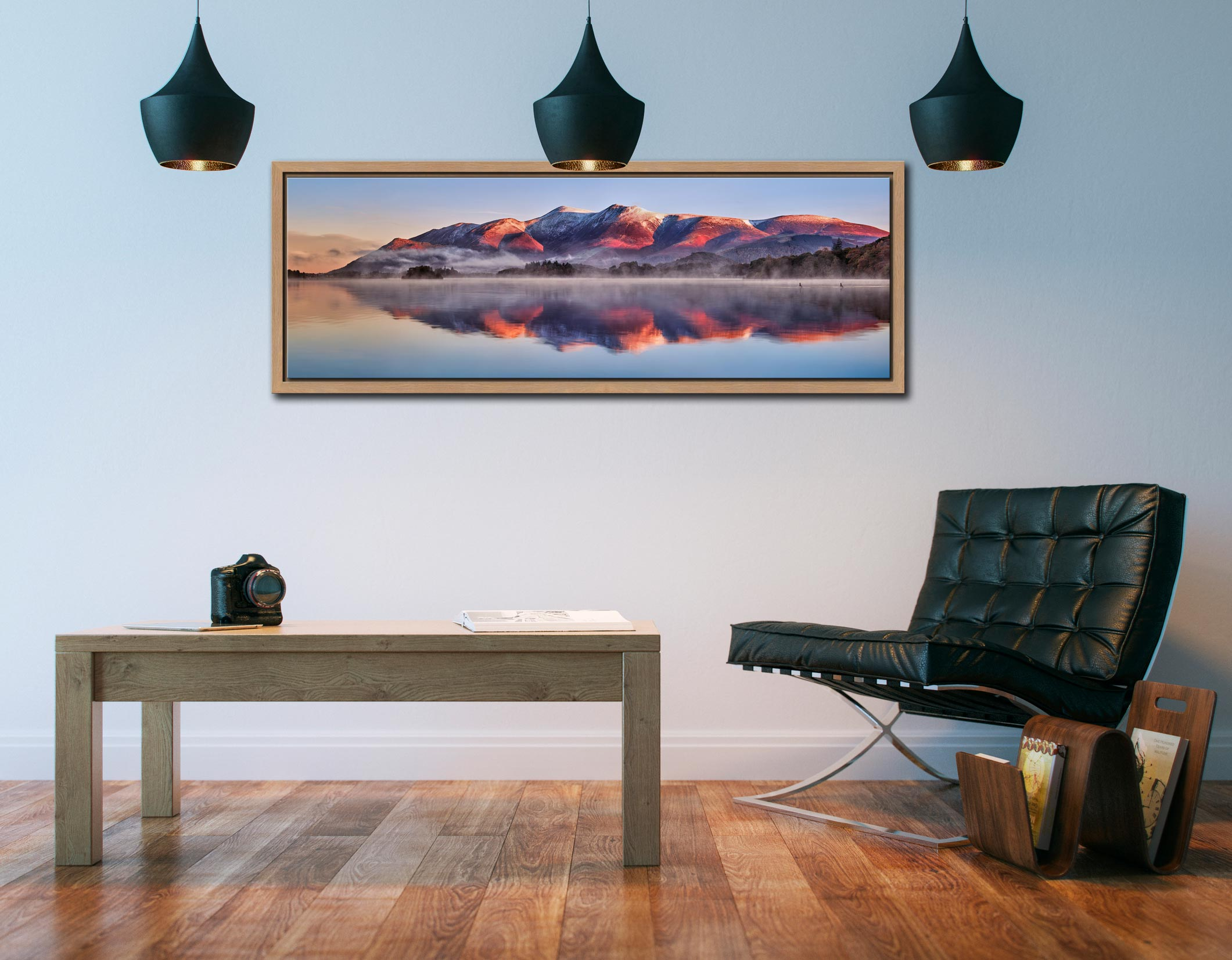 Snow topped Skiddaw reflecting in a calm Derwent Water - Oak floater frame with acrylic glazing on Wall