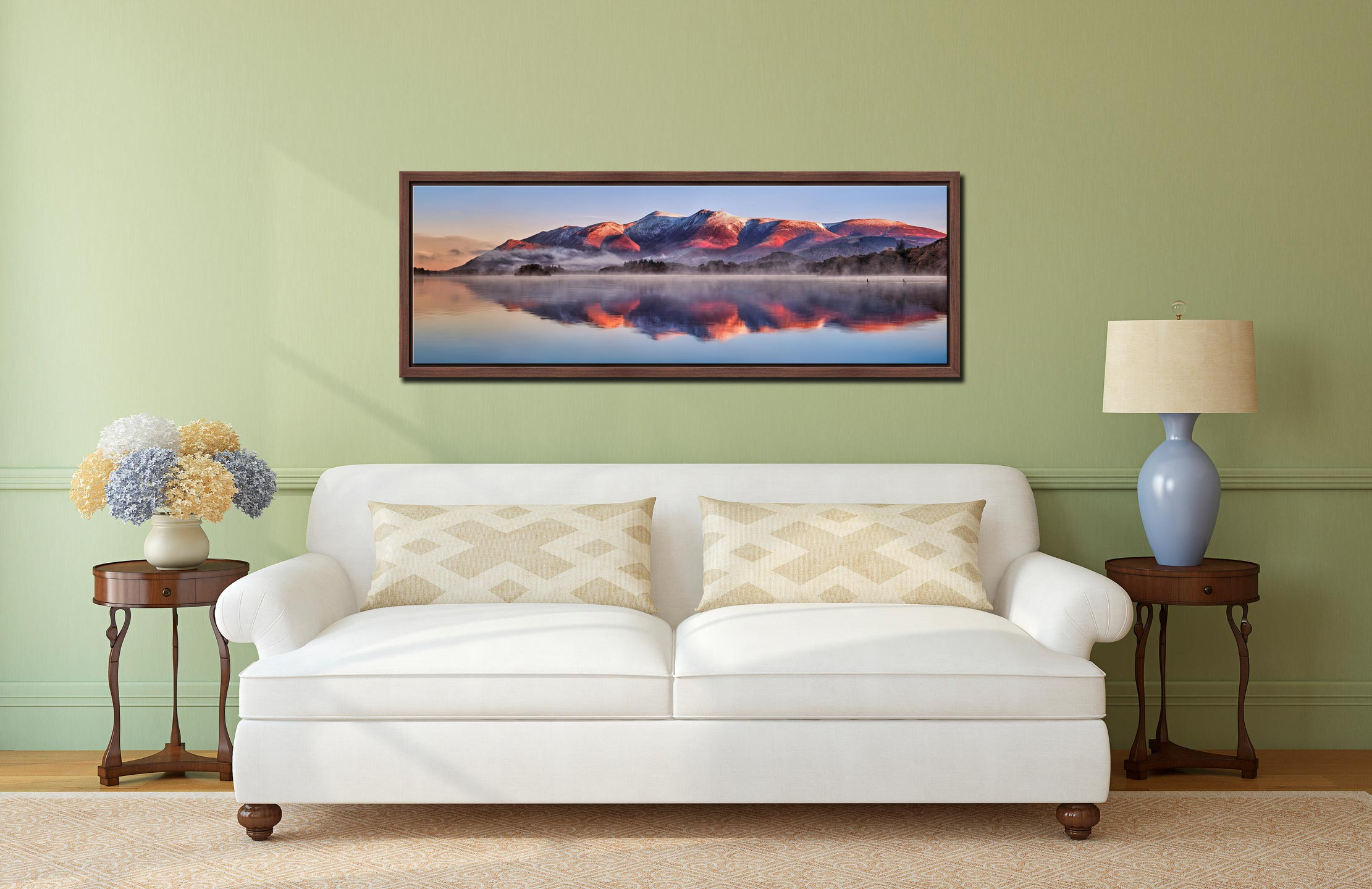Snow topped Skiddaw reflecting in a calm Derwent Water - Walnut floater frame with acrylic glazing on Wall