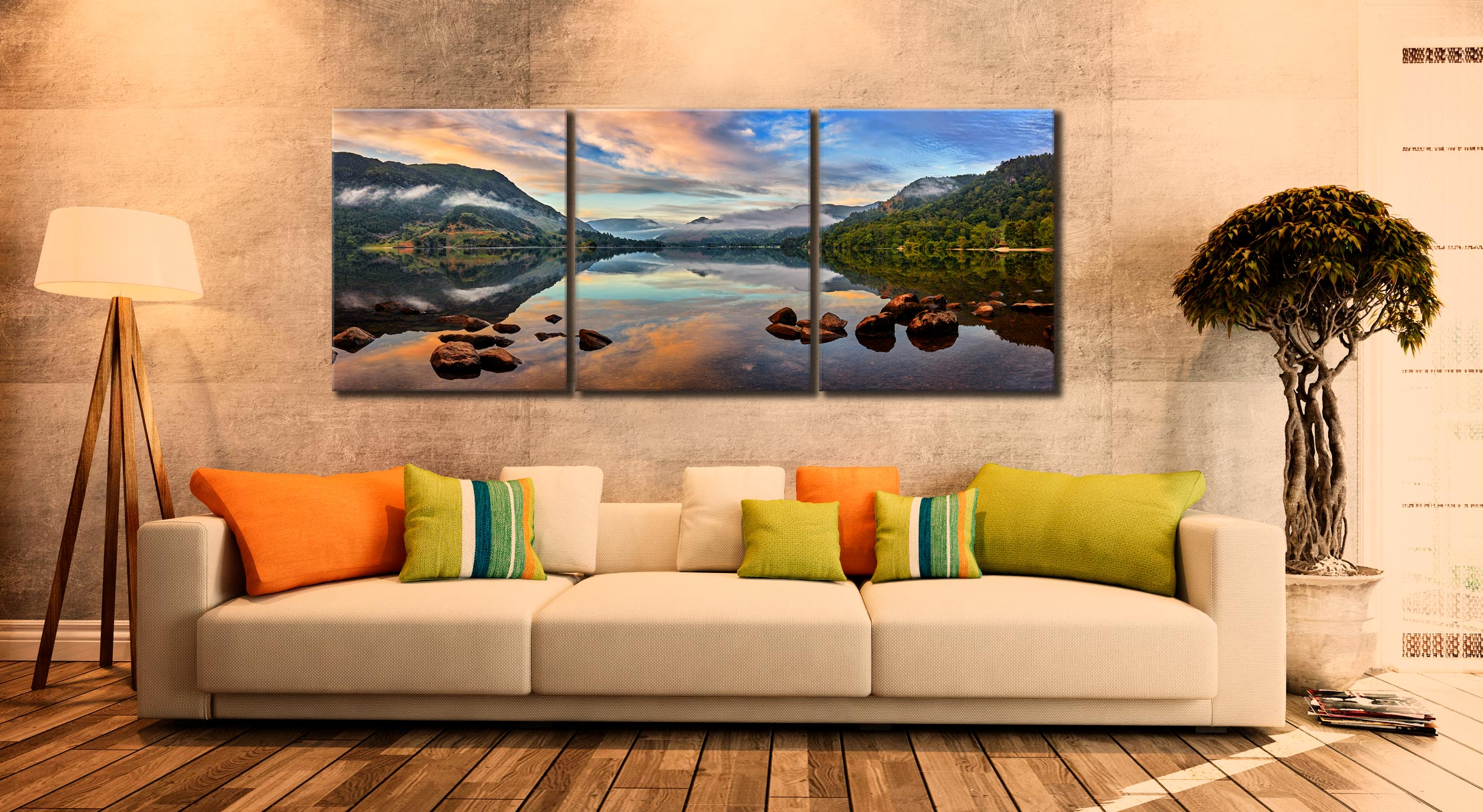 Ullswater Morning Mists - 3 Panel Canvas on Wall