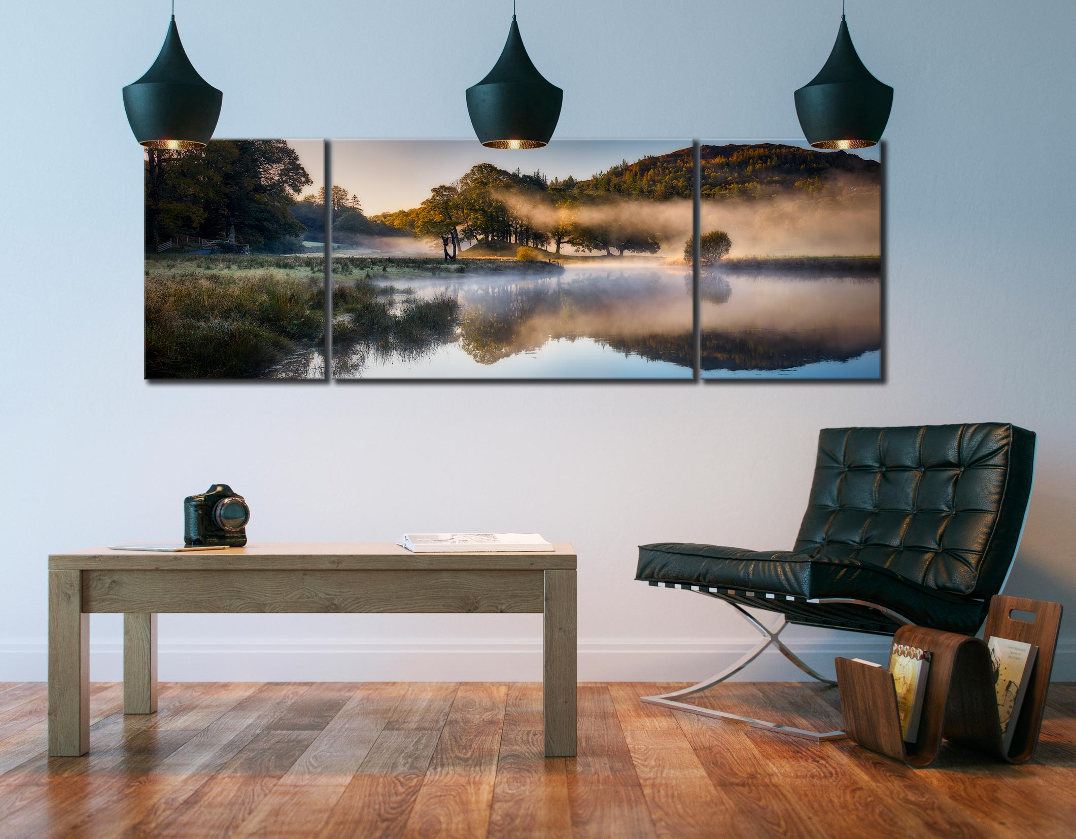 River Brathay Misty Panorama - 3 Panel Wide Mid Canvas on Wall