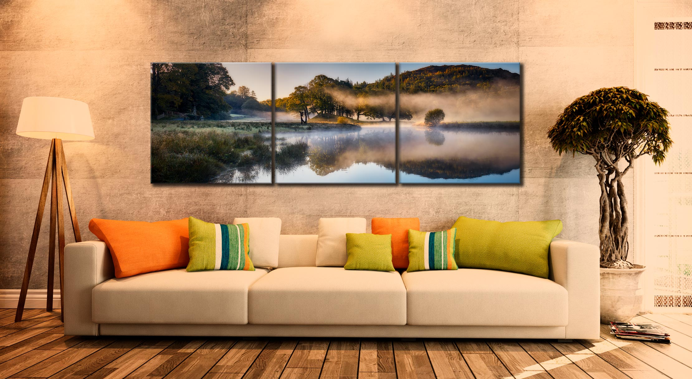 River Brathay Misty Panorama - 3 Panel Canvas on Wall