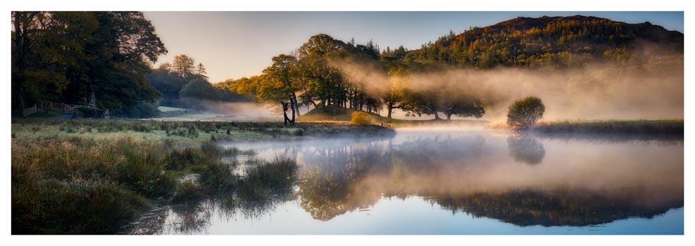 River Brathay Misty Panorama - Prints of Lake District
