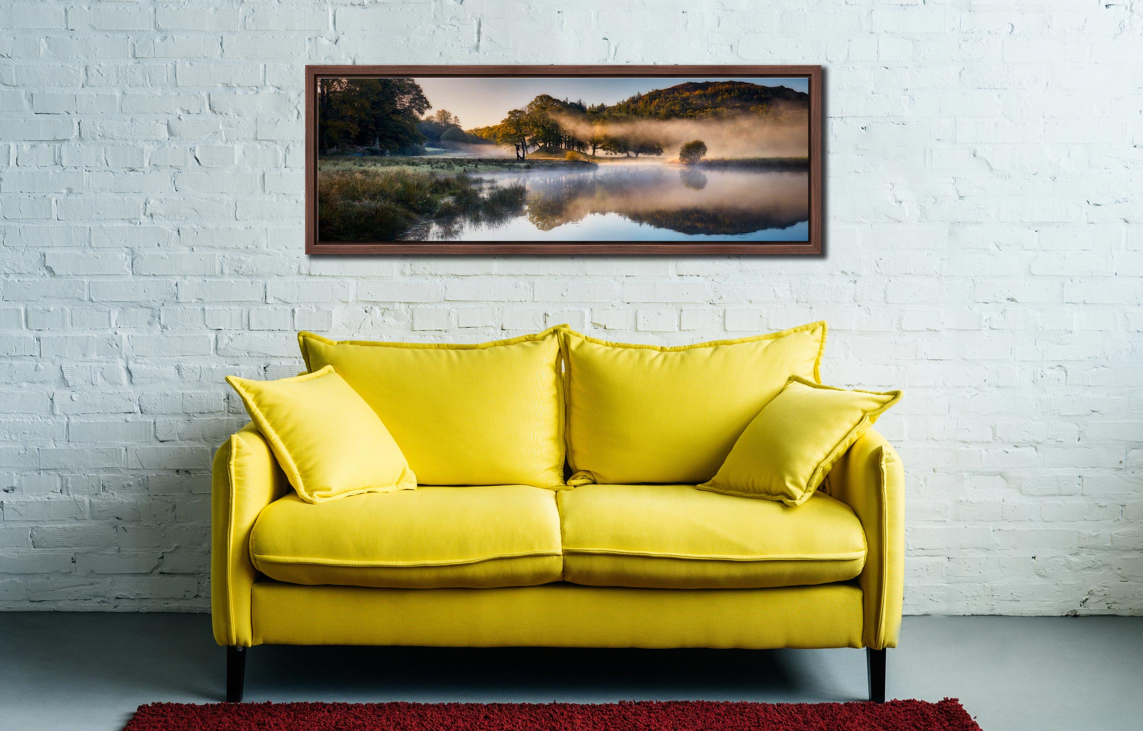 Misty autumn morning on the River Brathay near Elterwater - Walnut floater frame with acrylic glazing on Wall