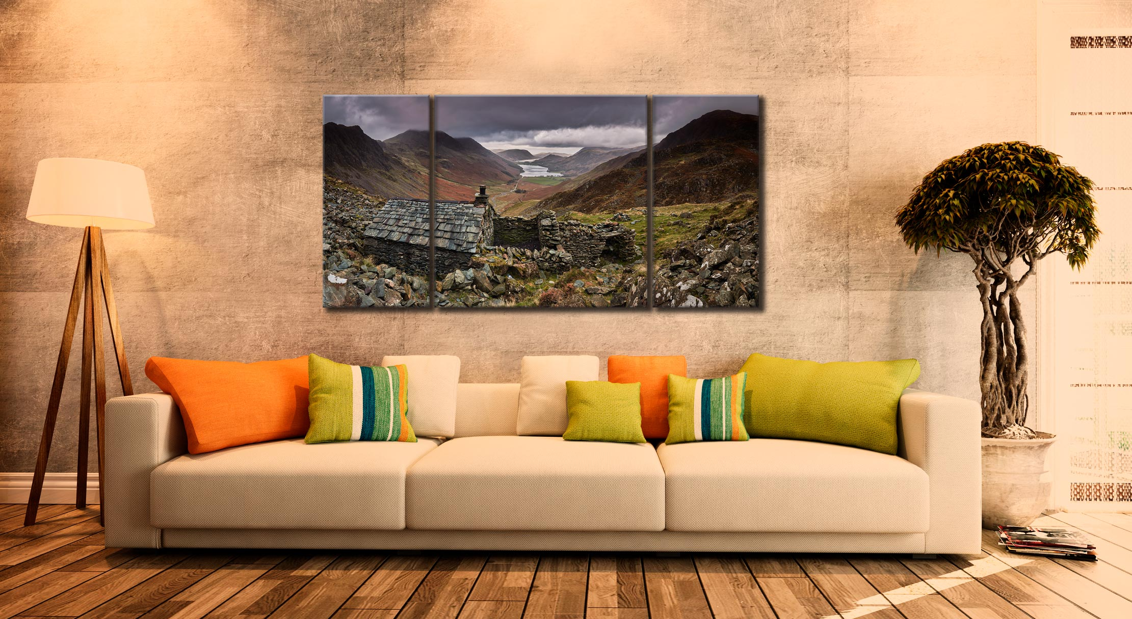Warnscale Bothy - 3 Panel Wide Centre Canvas on Wall