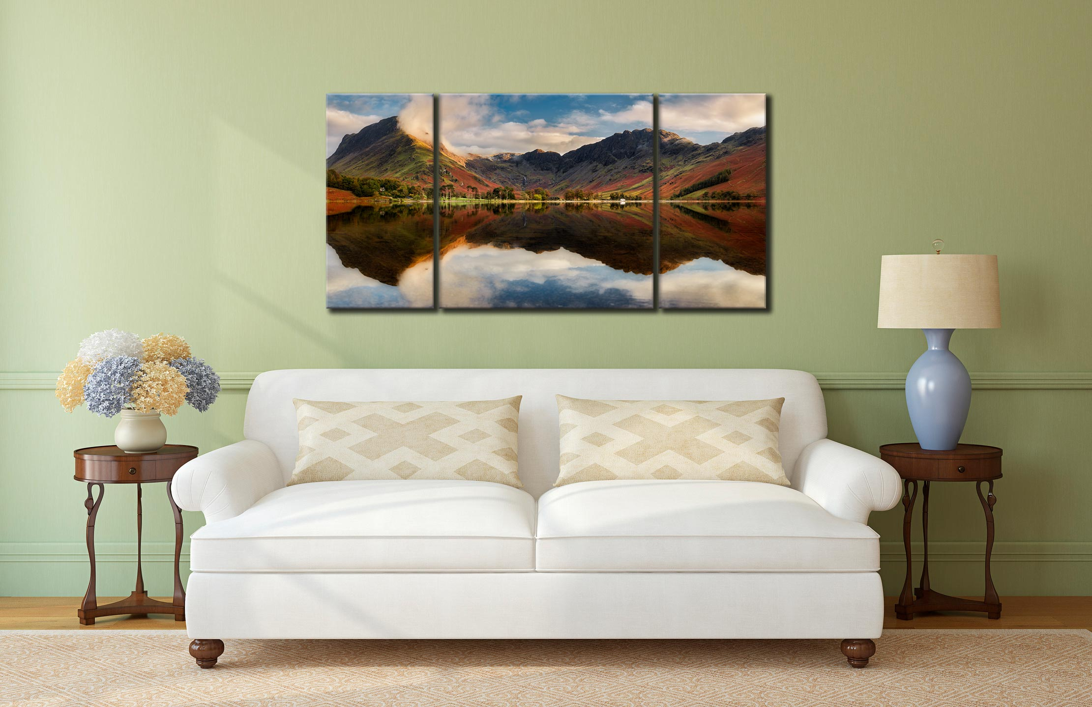 Buttermere Evening Light - 3 Panel Wide Centre Canvas on Wall