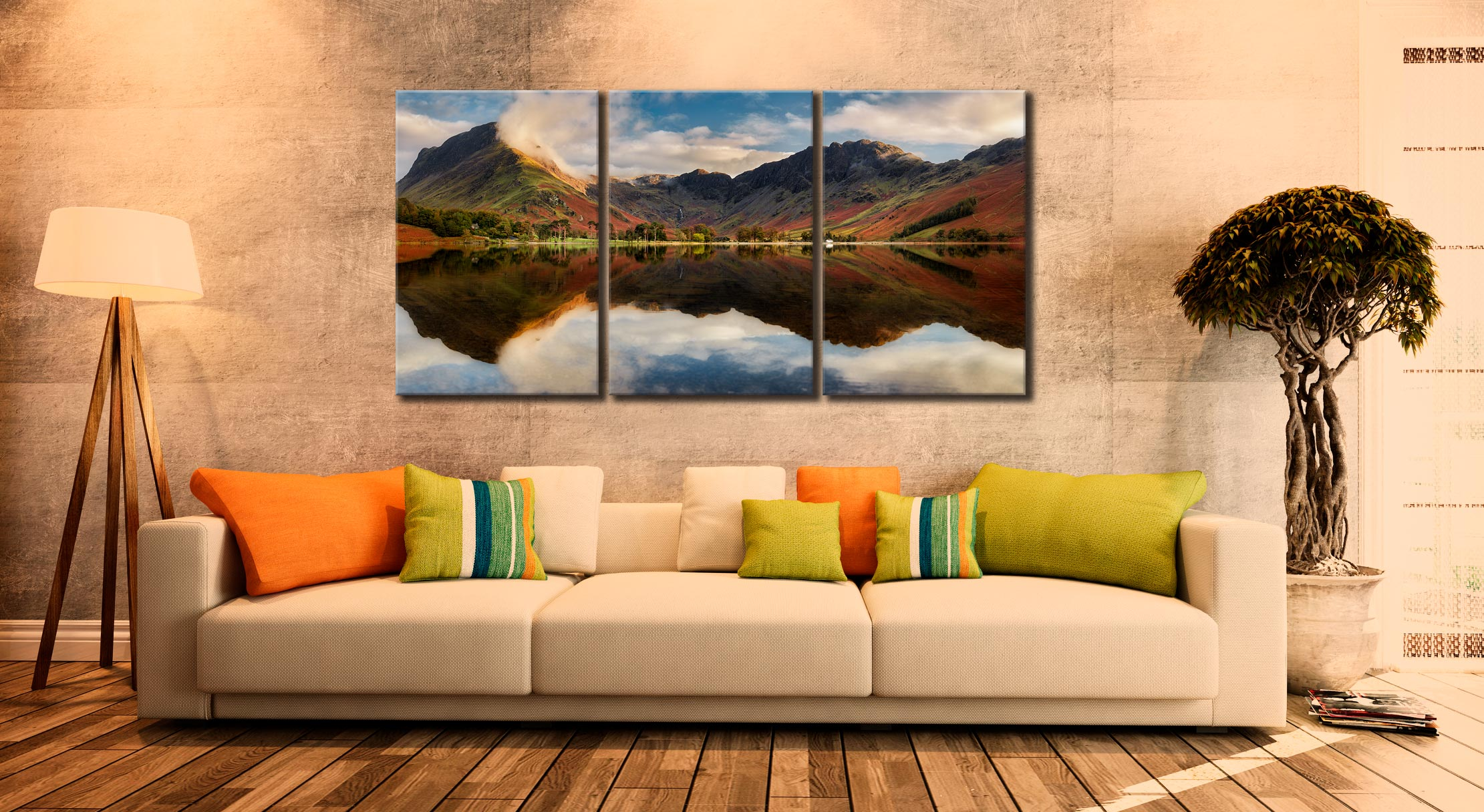 Buttermere Evening Light - 3 Panel Canvas on Wall