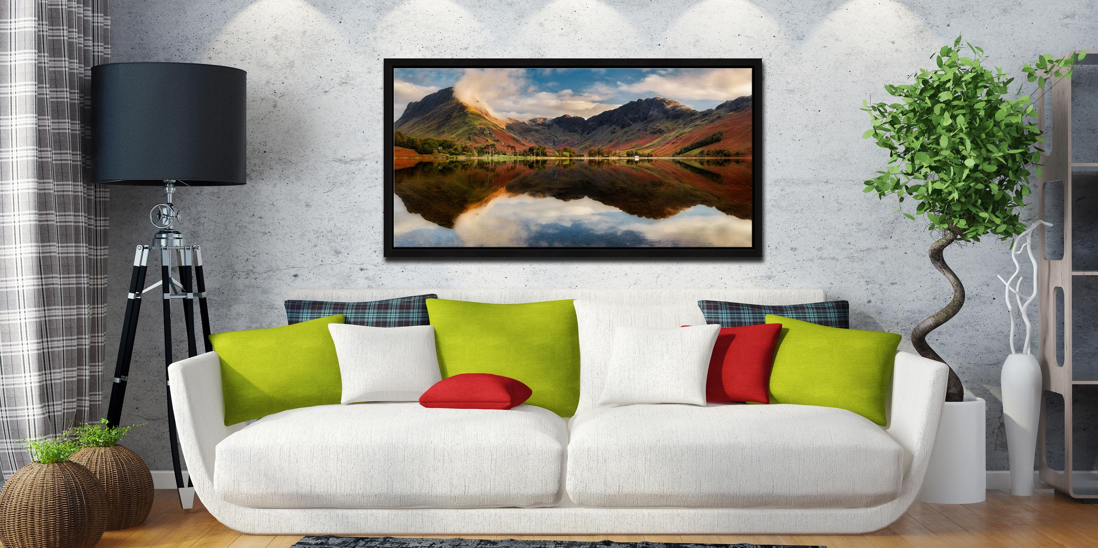 Buttermere Evening Light - Black oak floater frame with acrylic glazing on Wall