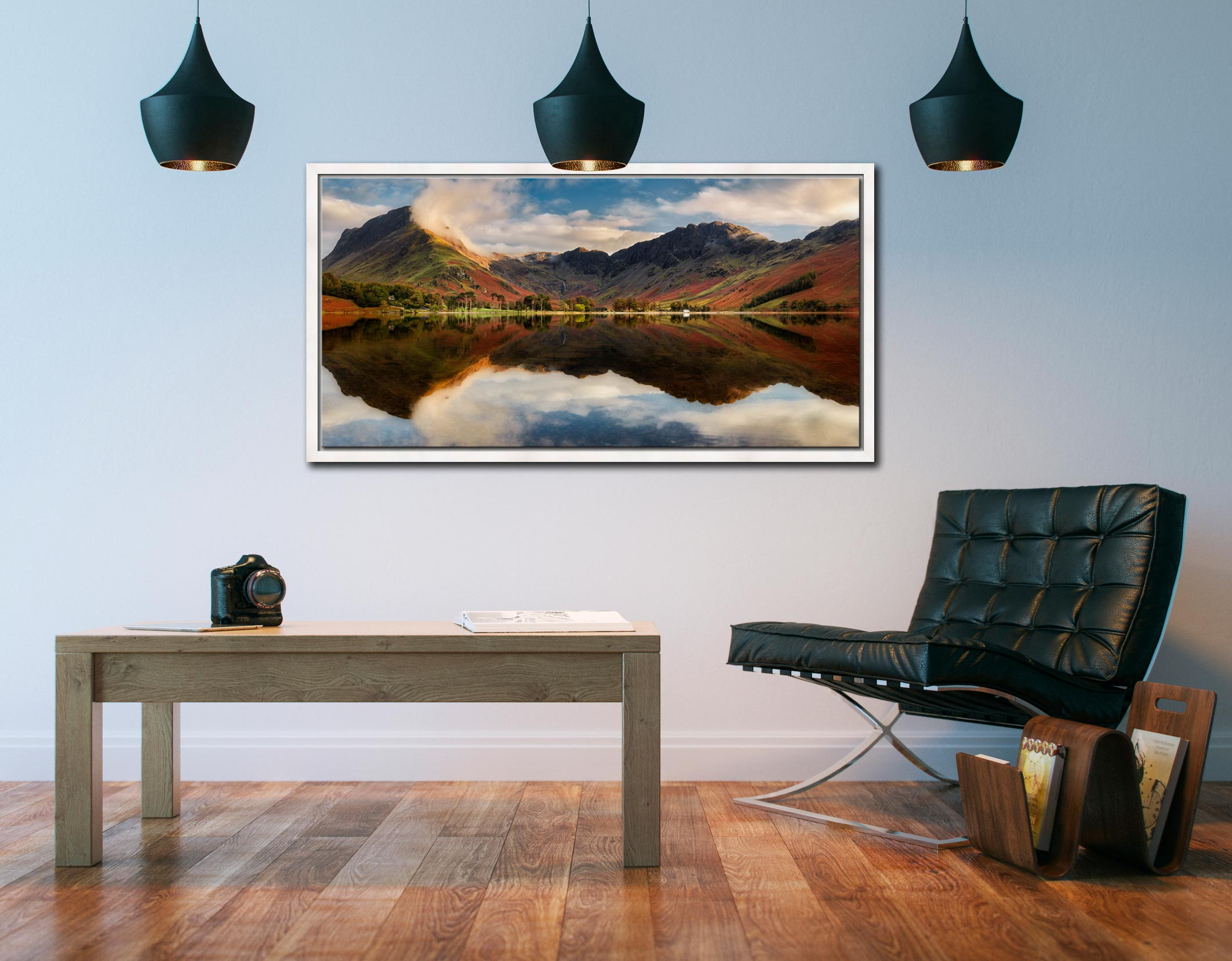 Buttermere Evening Light - White Maple floater frame with acrylic glazing on Wall