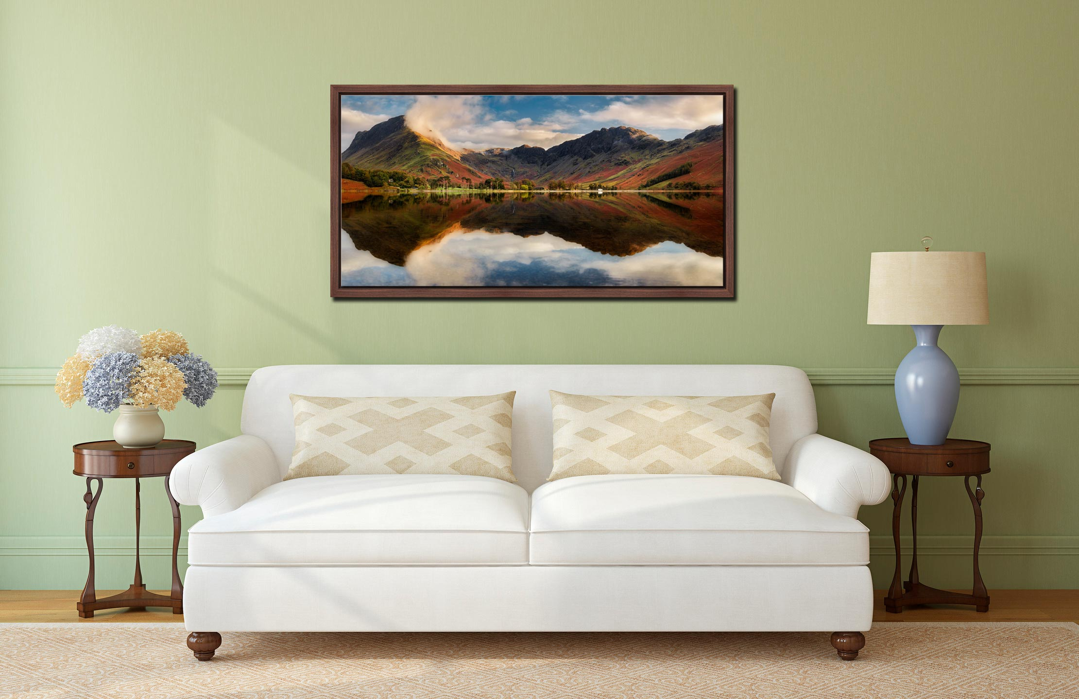 Buttermere Evening Light - Walnut floater frame with acrylic glazing on Wall