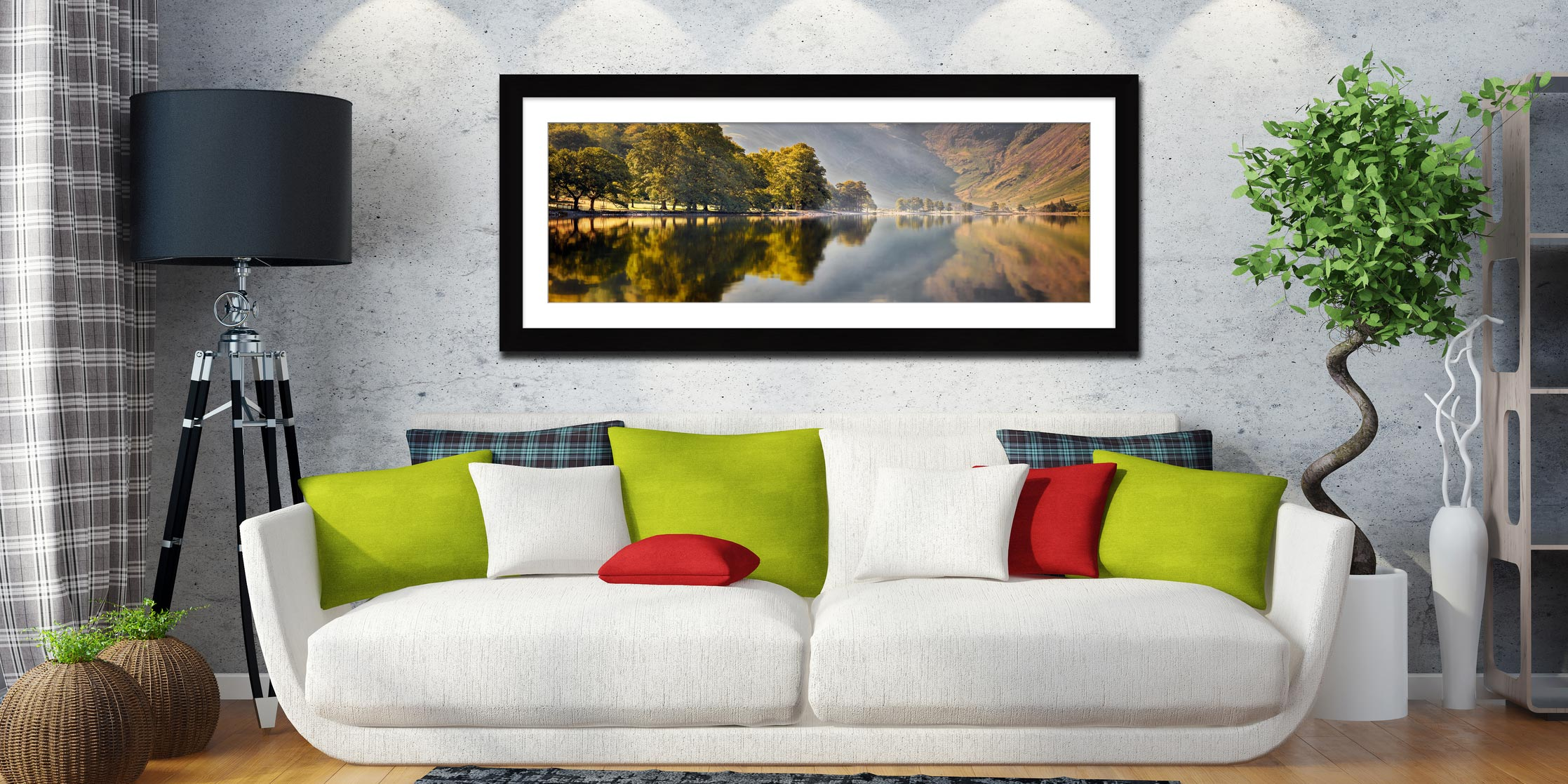 Hazy Days at Buttermere - Framed Print with Mount on Wall