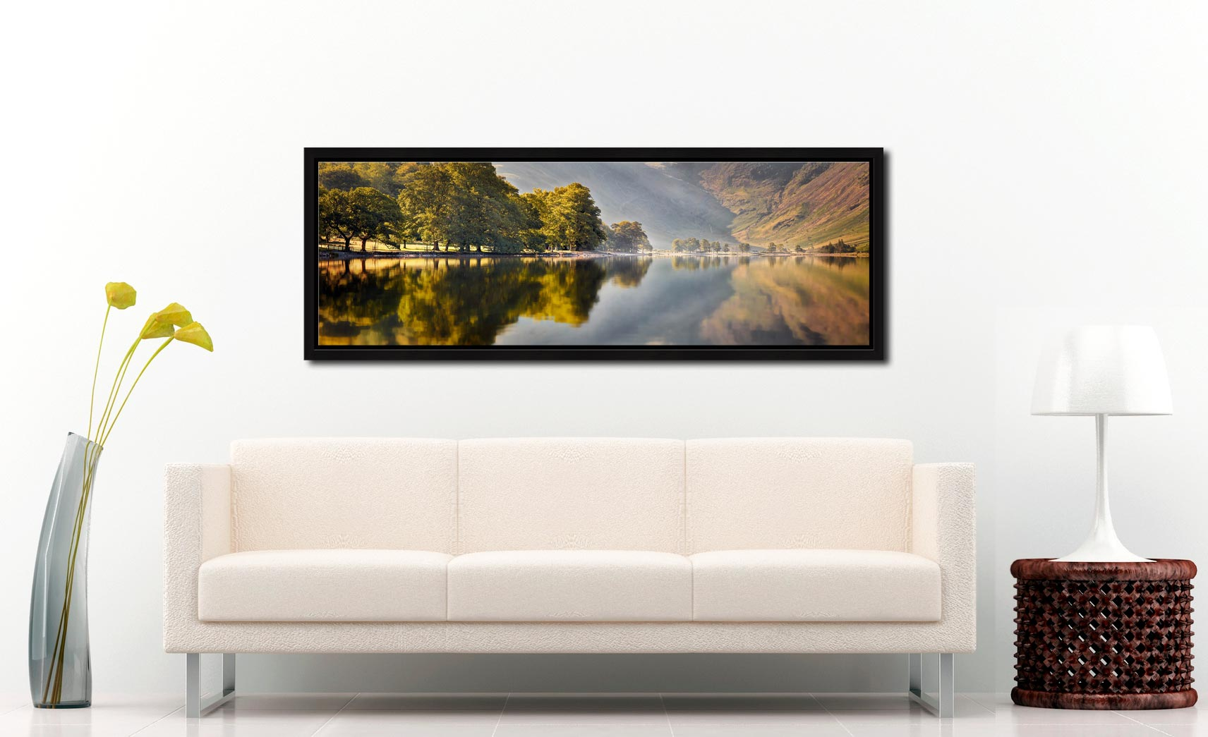 Hazy summer serenity at Buttermere - Black oak floater frame with acrylic glazing on Wall