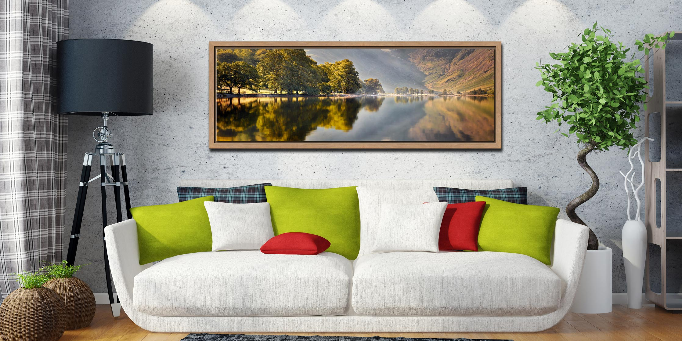 Hazy summer serenity at Buttermere - Oak floater frame with acrylic glazing on Wall