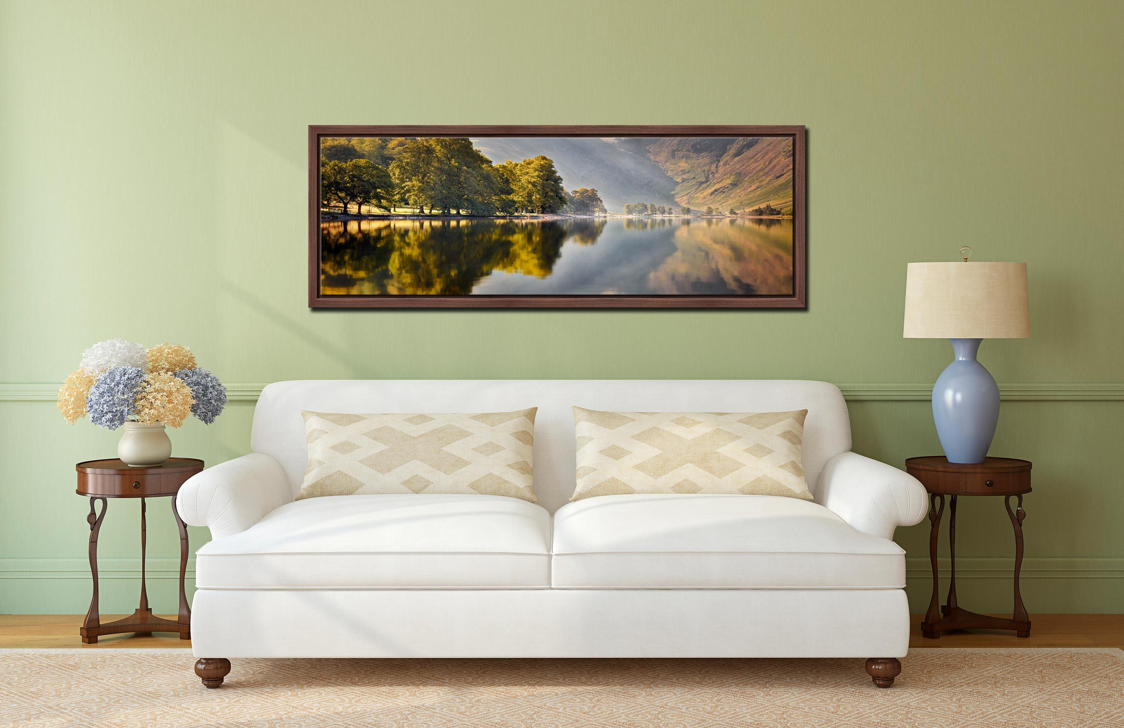 Hazy summer serenity at Buttermere - Walnut floater frame with acrylic glazing on Wall
