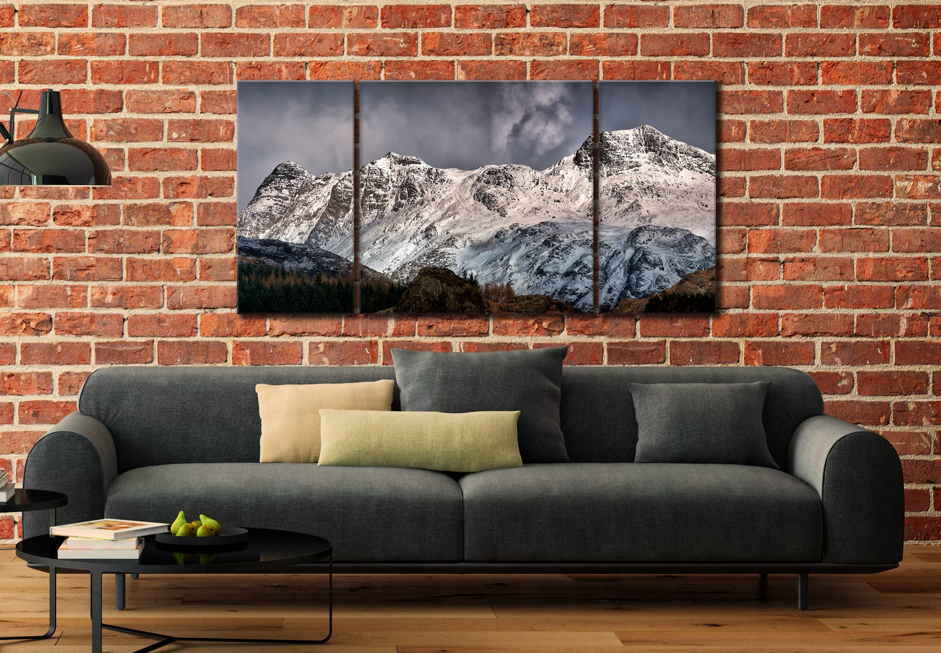 Snow on the Langdales - 3 Panel Wide Centre Canvas on Wall
