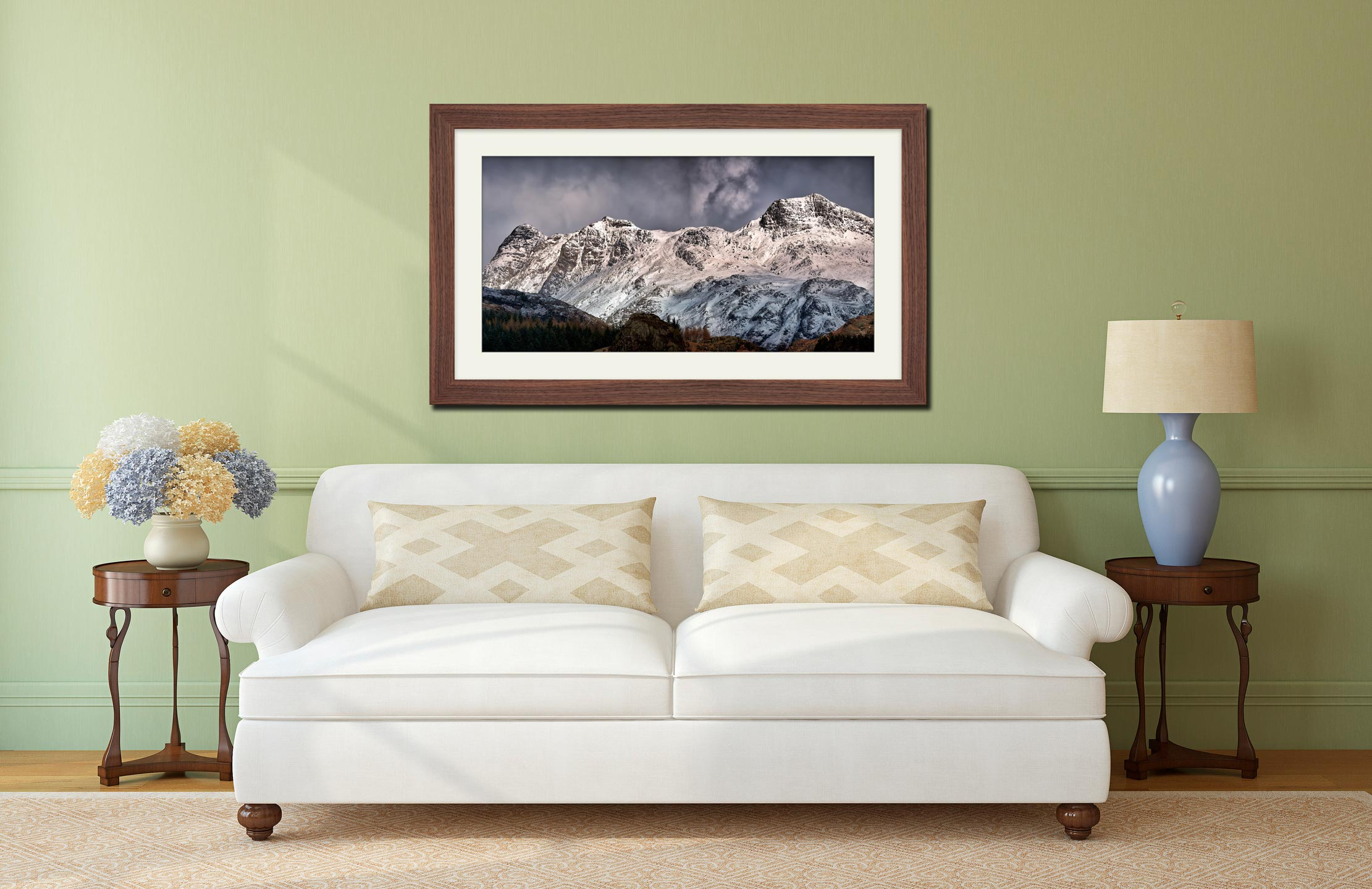 Snow on the Langdales - Framed Print with Mount on Wall