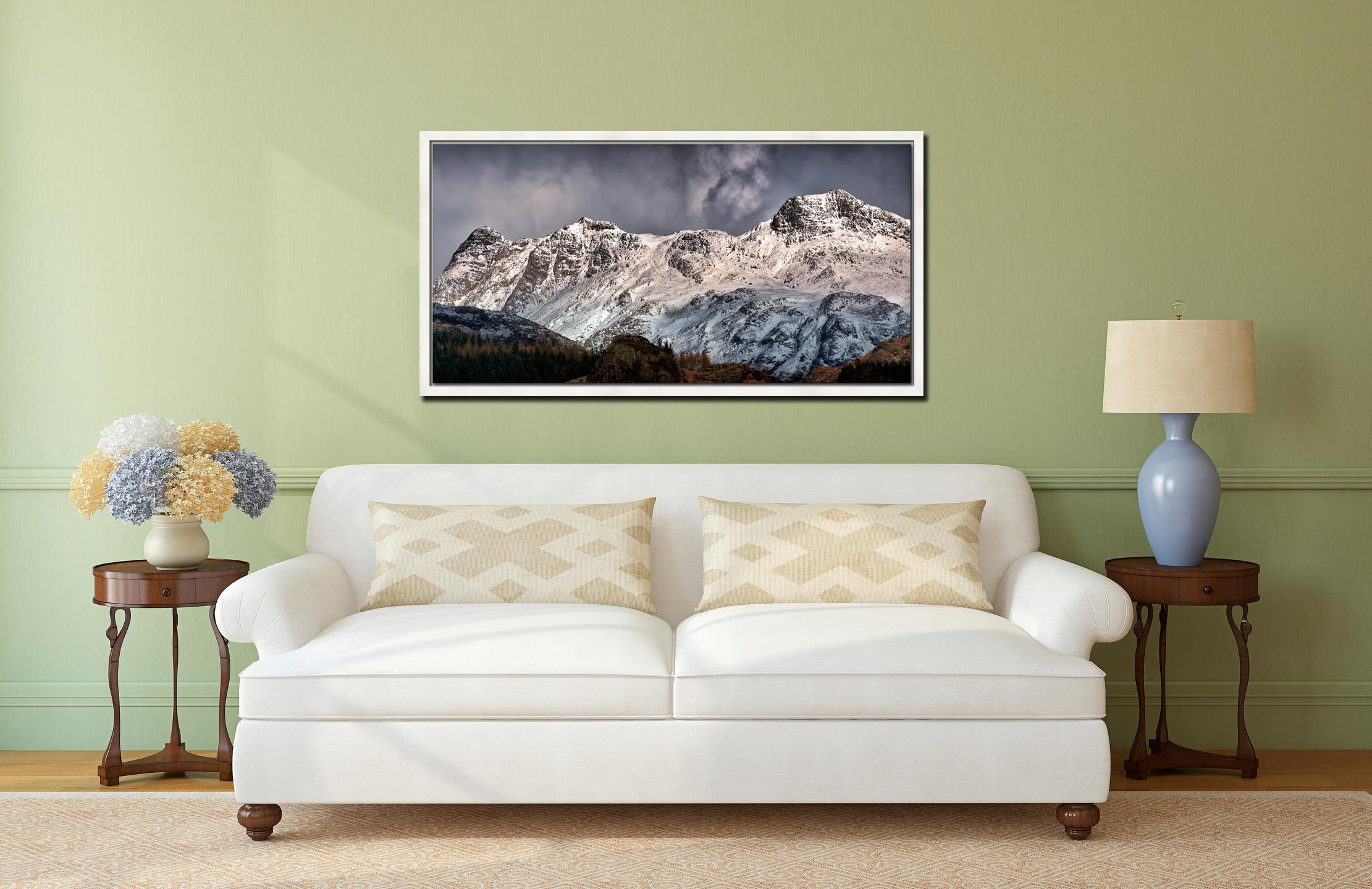 Snow on the Langdales - White Maple floater frame with acrylic glazing on Wall