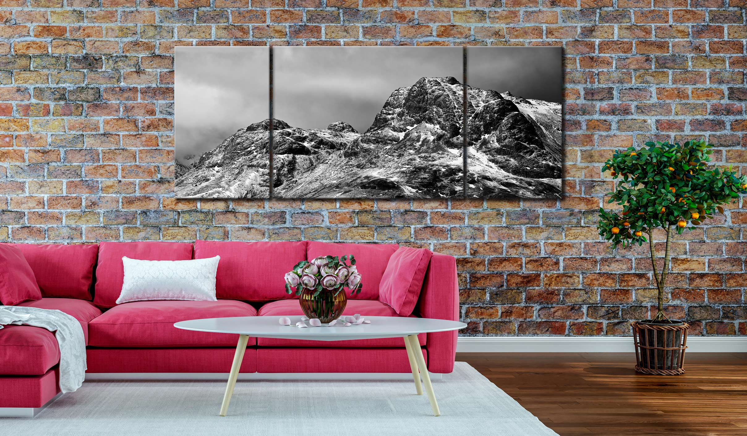 Snow on the Langdale Pikes - 3 Panel Wide Mid Canvas on Wall