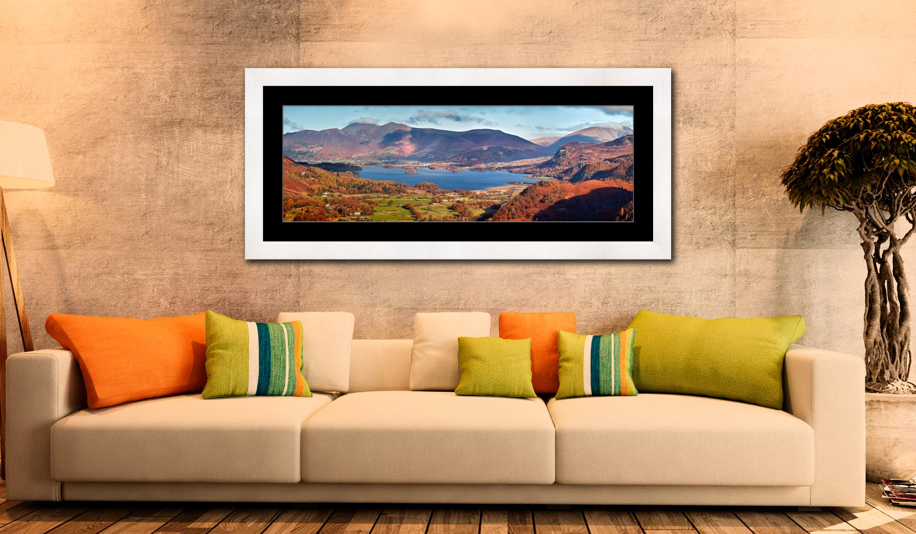 Derwent Water Autumn Panorama - Framed Print with Mount on Wall