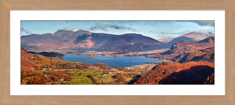 Derwent Water Autumn Panorama - Framed Print with Mount