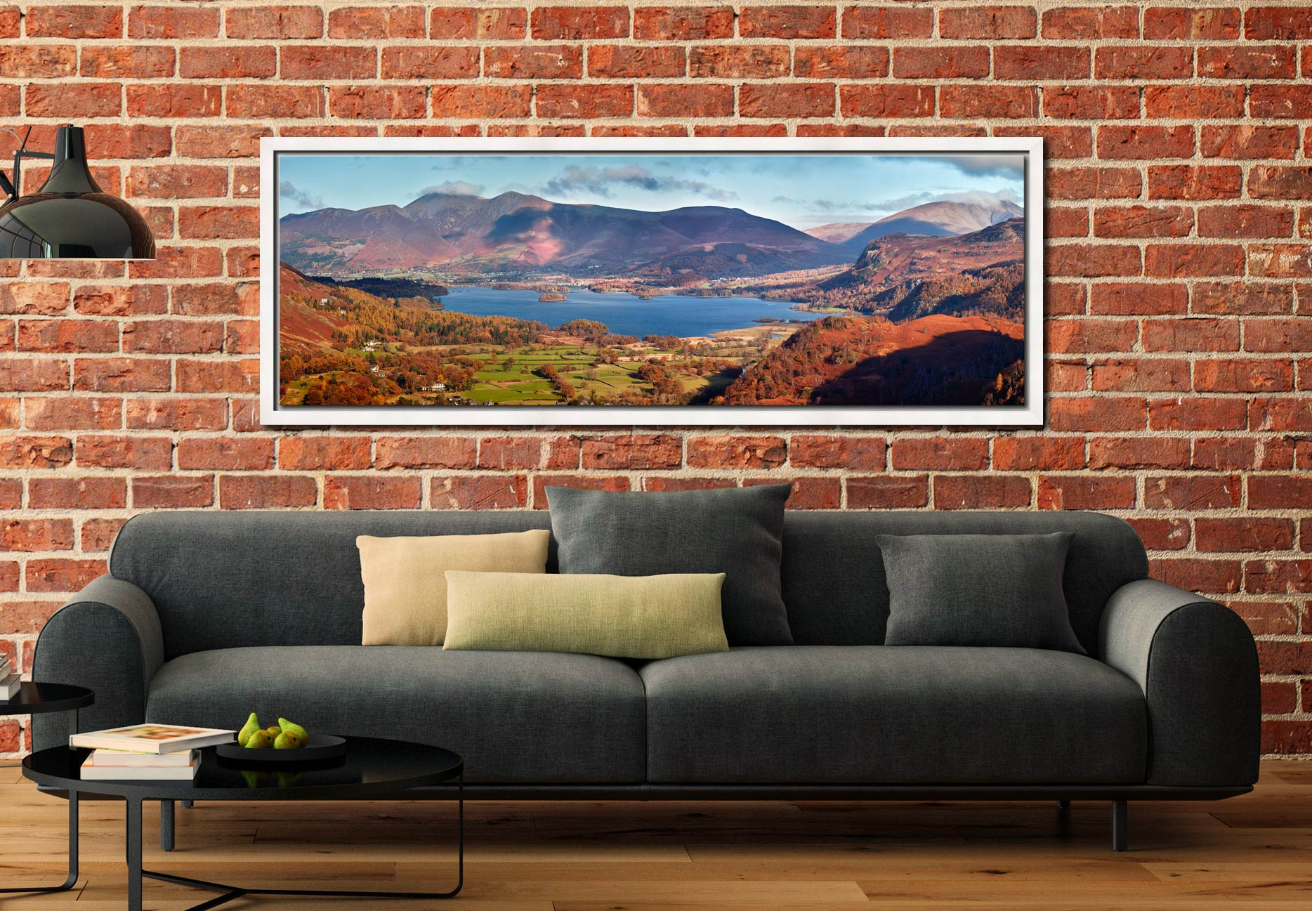 Derwent Water in Autumn viewed from Castle Crag - White Maple floater frame with acrylic glazing on Wall