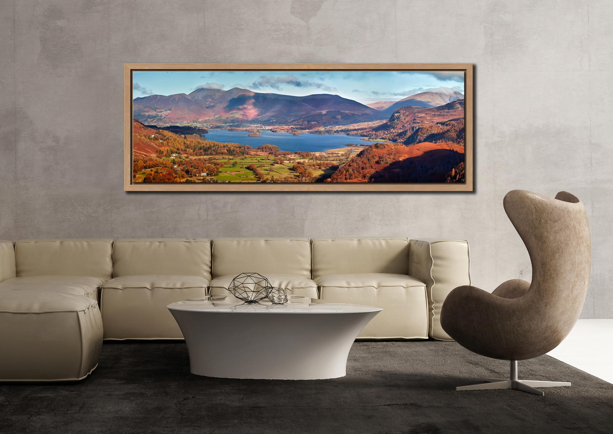Derwent Water in Autumn viewed from Castle Crag - Oak floater frame with acrylic glazing on Wall