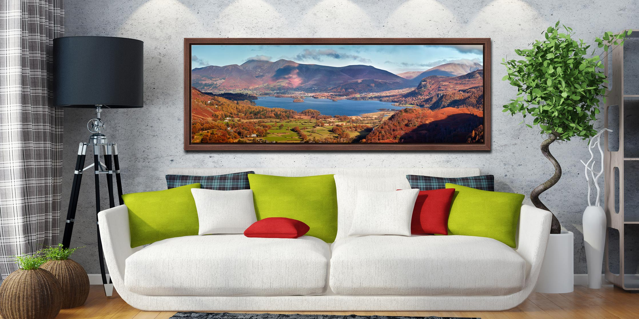 Derwent Water in Autumn viewed from Castle Crag - Walnut floater frame with acrylic glazing on Wall