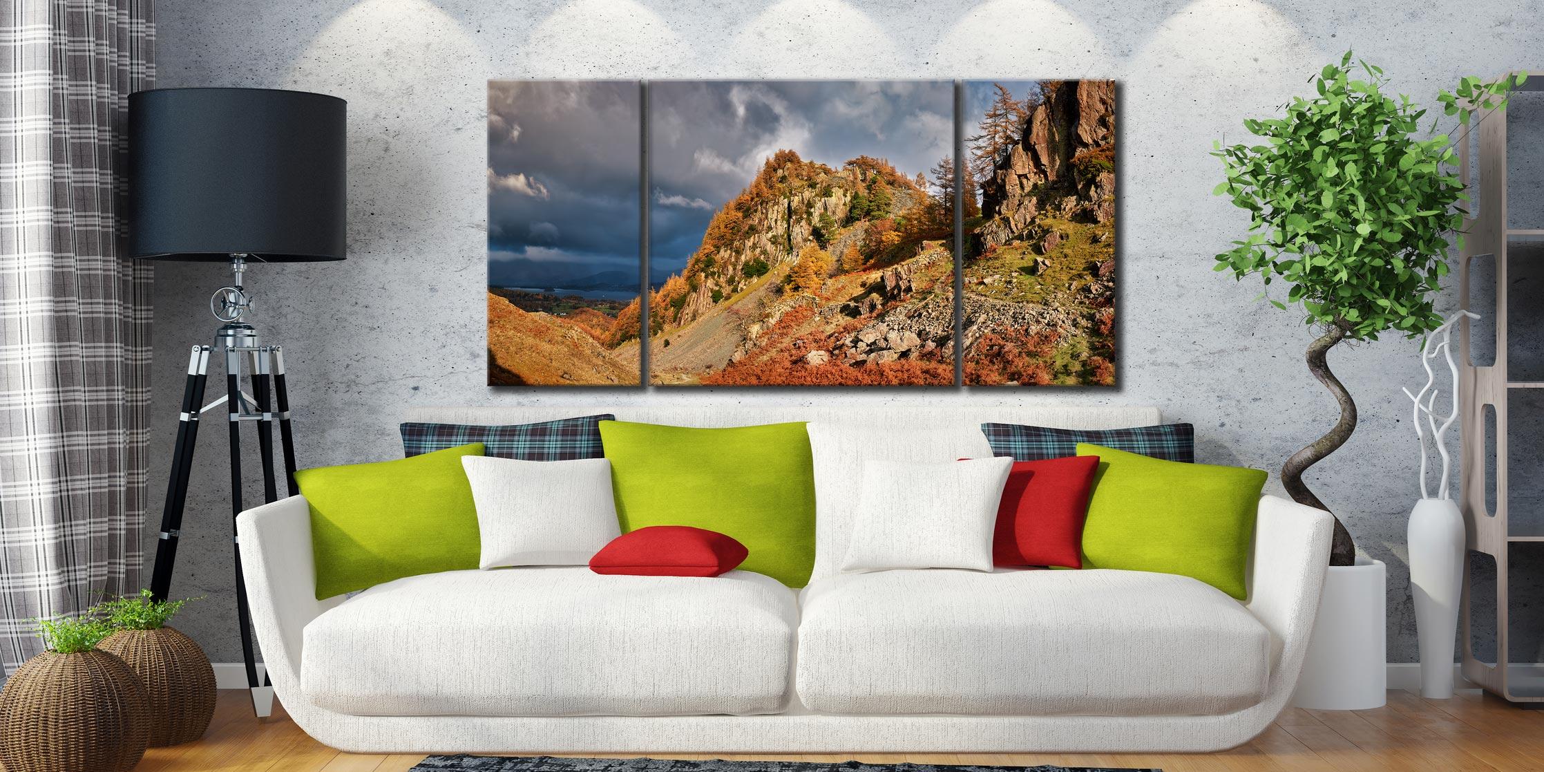 Castle Crag Autumn Sunshine - 3 Panel Wide Centre Canvas on Wall