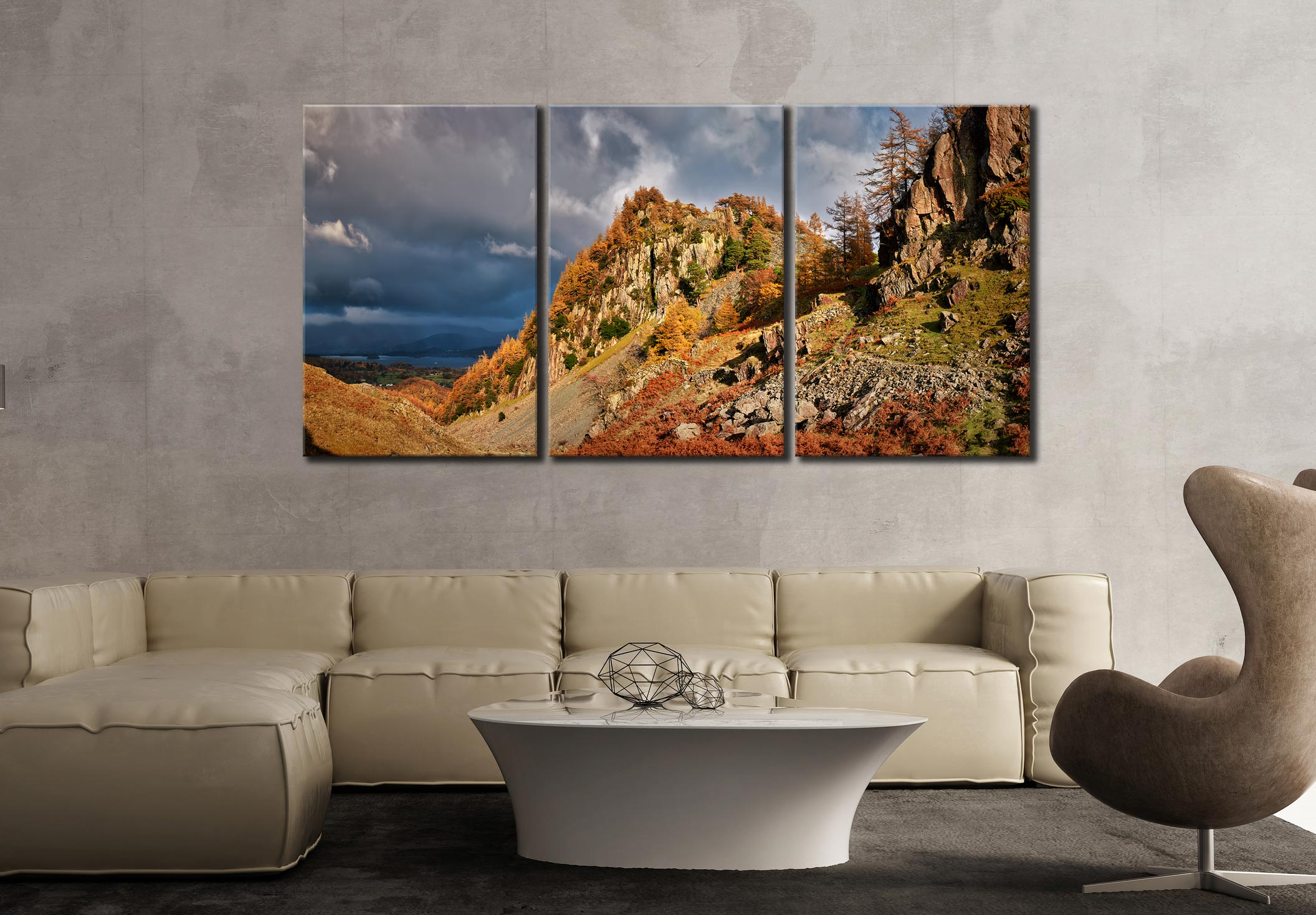 Castle Crag Autumn Sunshine - 3 Panel Canvas on Wall