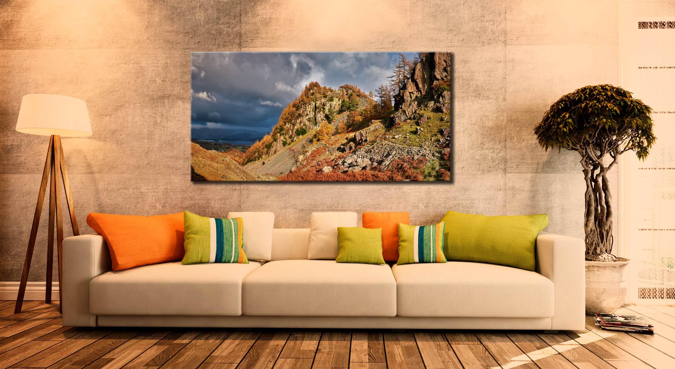 Castle Crag Autumn Sunshine - Canvas Print on Wall