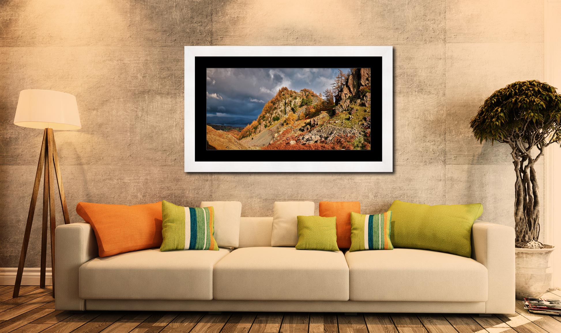 Castle Crag Autumn Sunshine - Framed Print with Mount on Wall