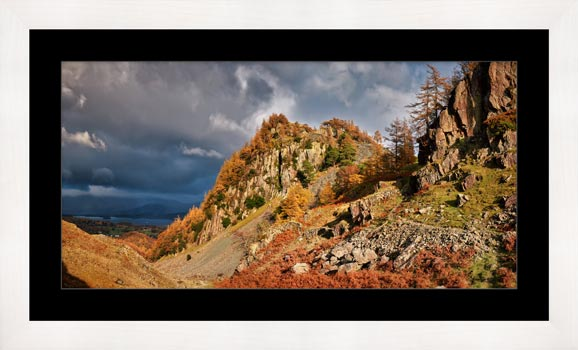 Castle Crag Autumn Sunshine - Framed Print with Mount