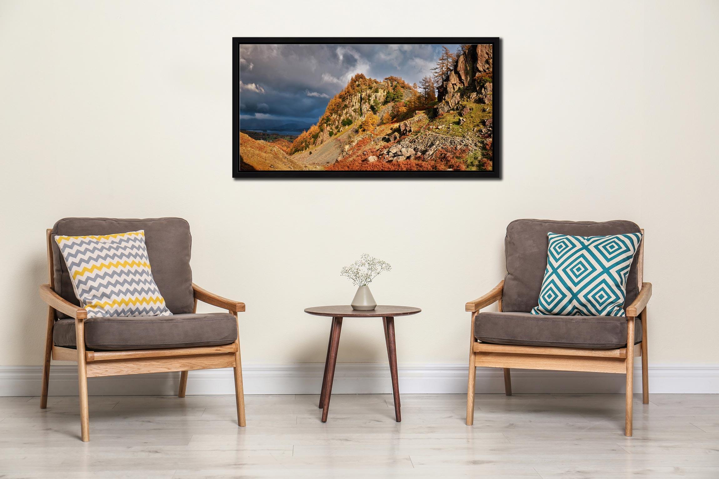 Castle Crag Autumn Sunshine - Black oak floater frame with acrylic glazing on Wall