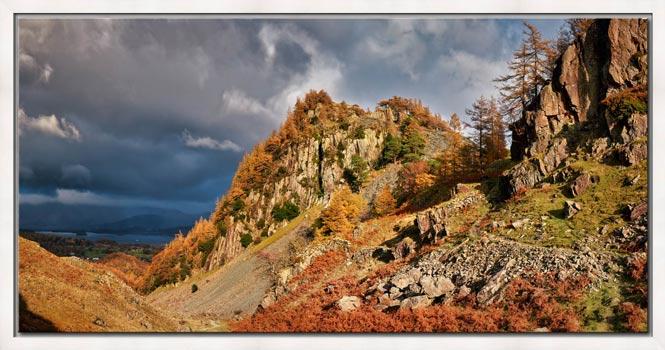 Castle Crag Autumn Sunshine - Modern Print