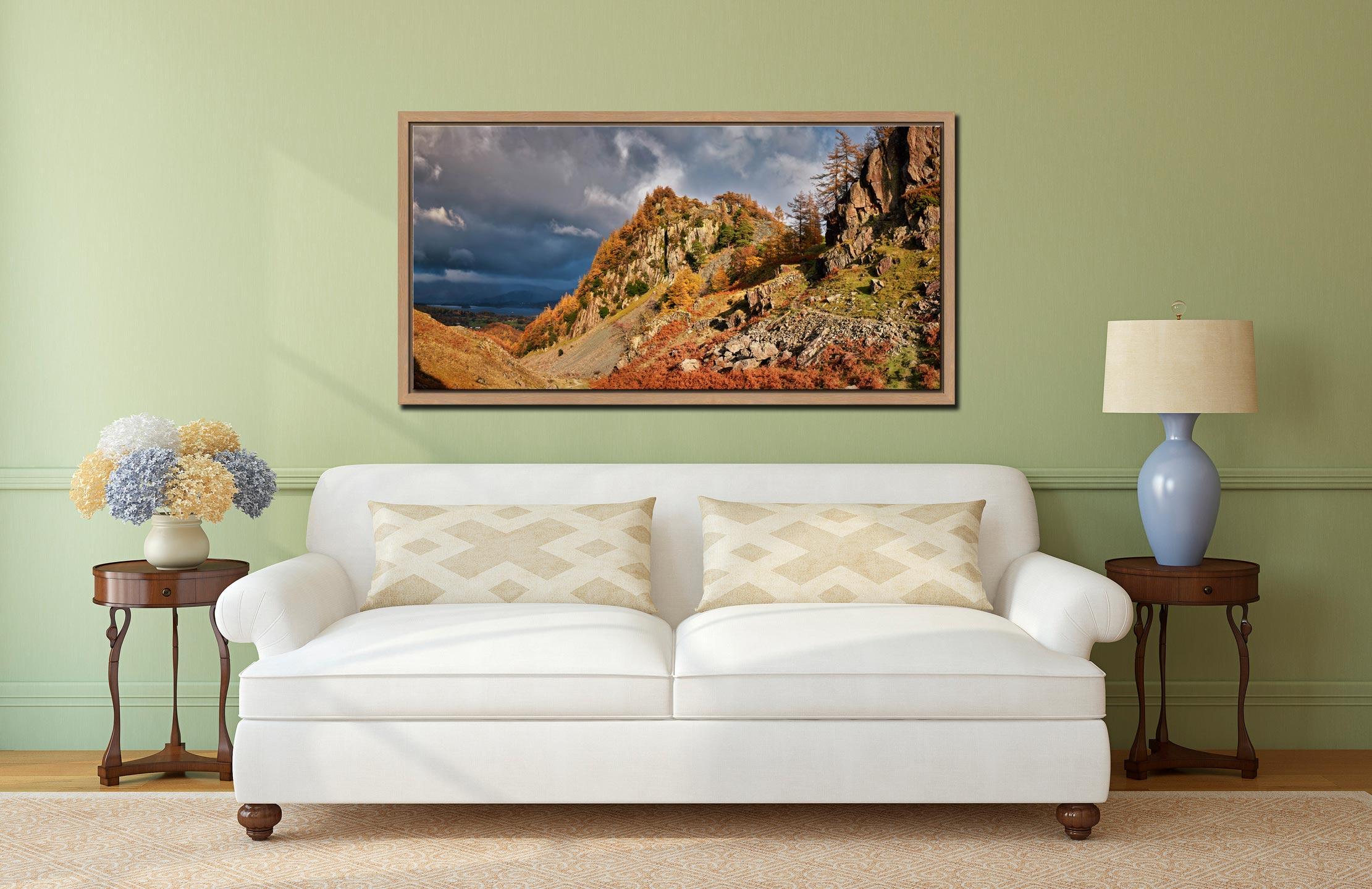 Castle Crag Autumn Sunshine - Oak floater frame with acrylic glazing on Wall