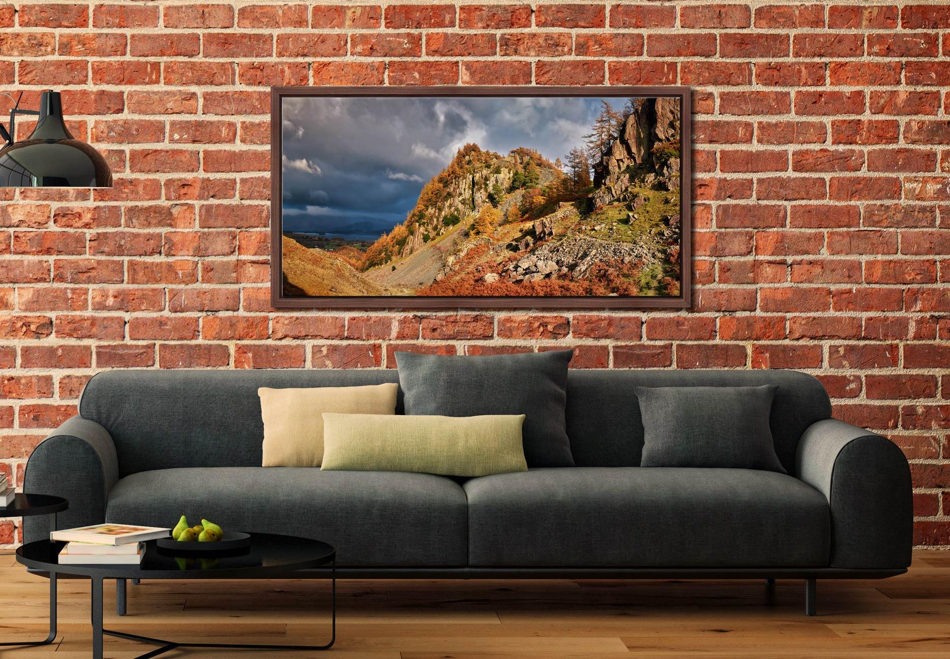 Castle Crag Autumn Sunshine - Walnut floater frame with acrylic glazing on Wall