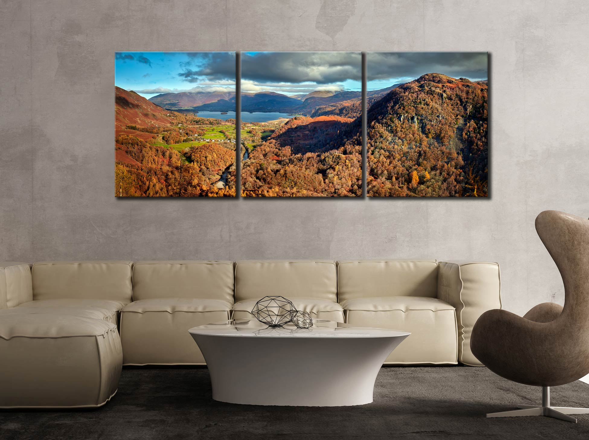 Derwent Water from Castle Crag - 3 Panel Canvas on Wall