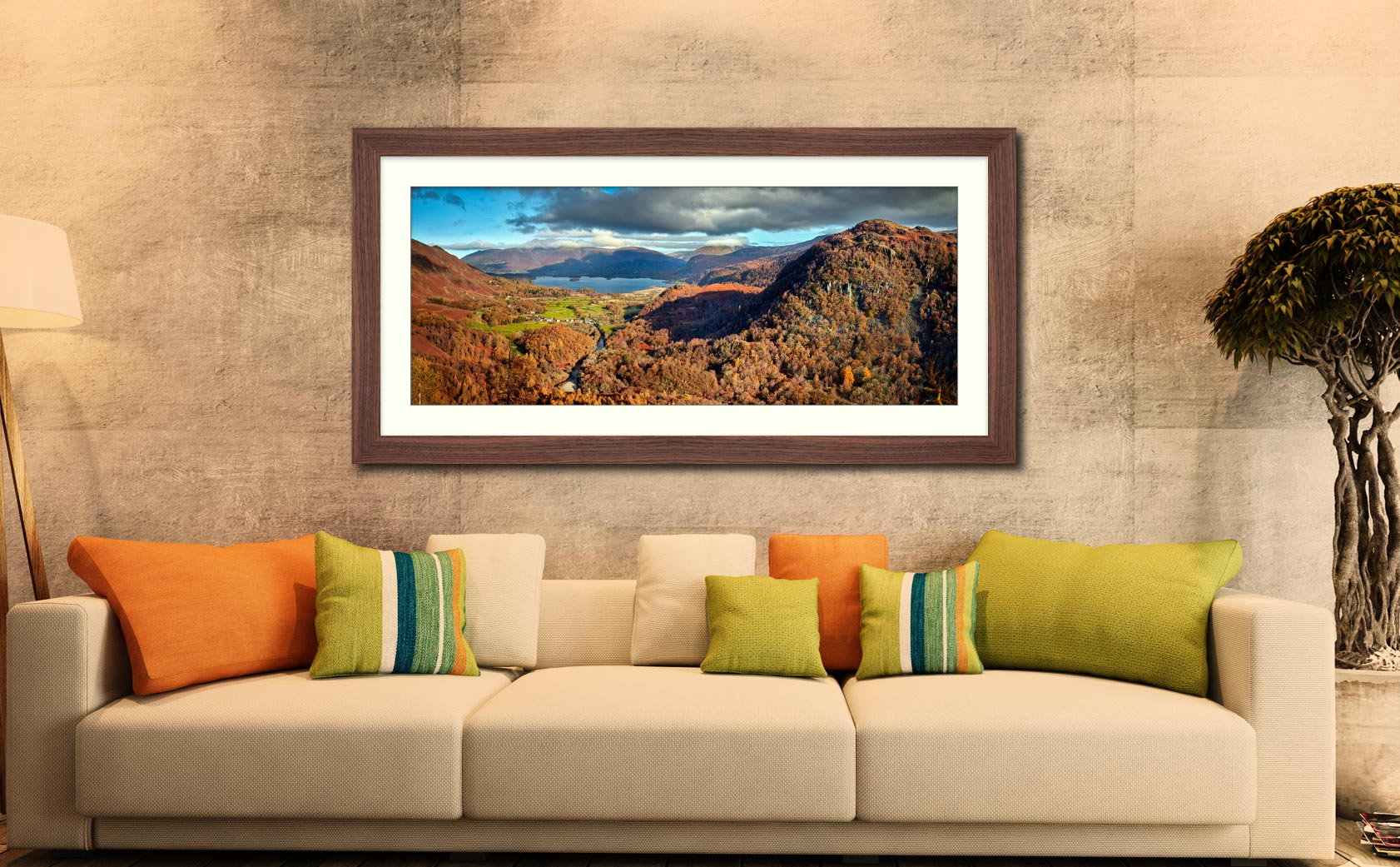 Derwent Water from Castle Crag - Framed Print with Mount on Wall